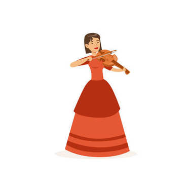 Woman violinist performing musical composition