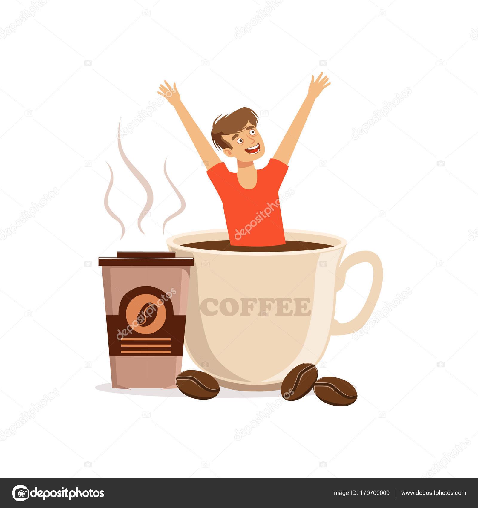 Junger Mann sitzt in überdimensionalen Tasse Kaffee, Koffein-sucht ...