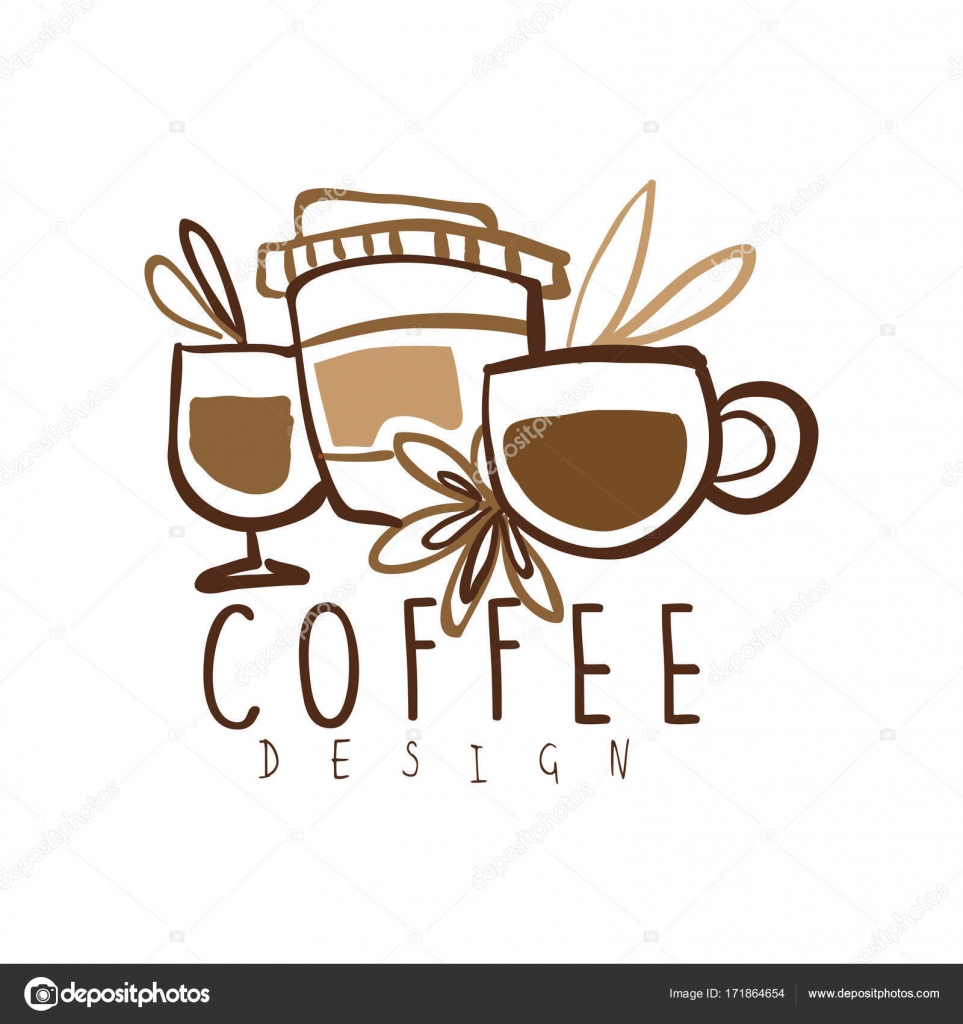 coffee hand drawn logo design with mugs and paper cup stock vector