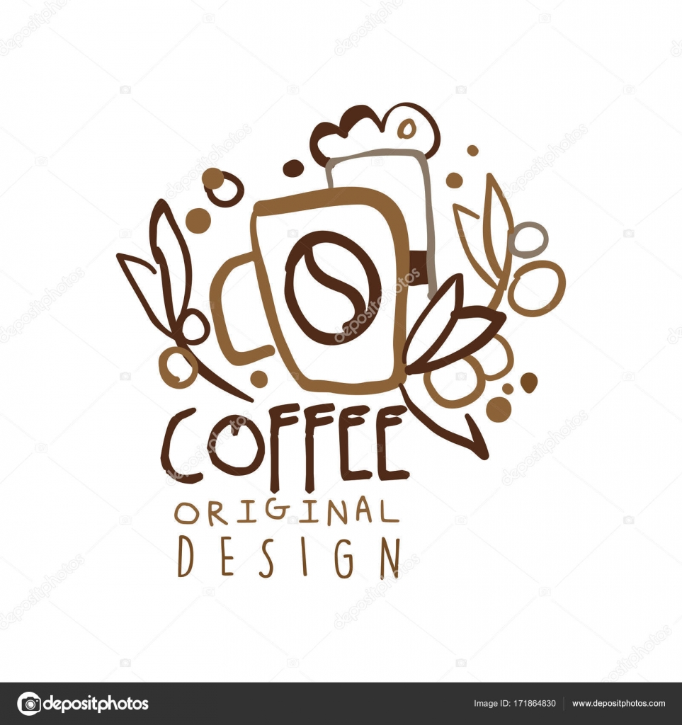 coffee to go hand drawn original logo design with paper cup stock