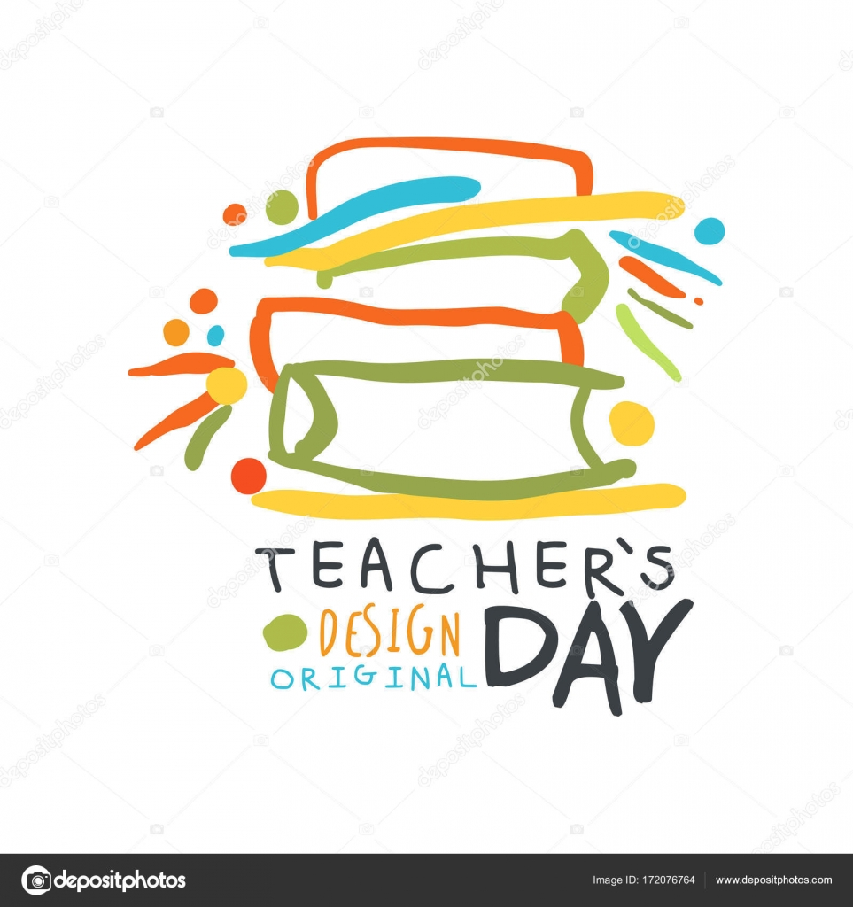 Happy Teachers Day Greeting Card With Educational Books Stock