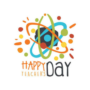 Happy Teachers Day greeting card with atom