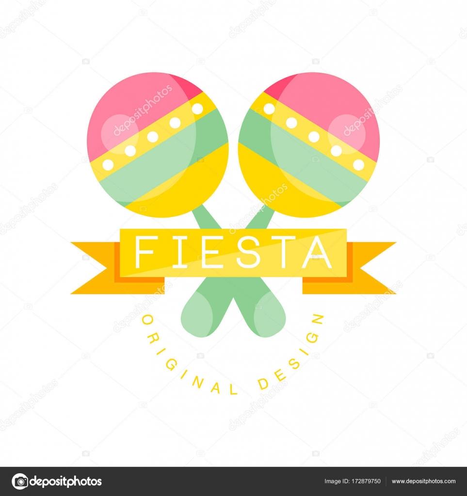 cr ation de logo originale fiesta tiquette color e avec maracas et ruban pour des vacances ou. Black Bedroom Furniture Sets. Home Design Ideas
