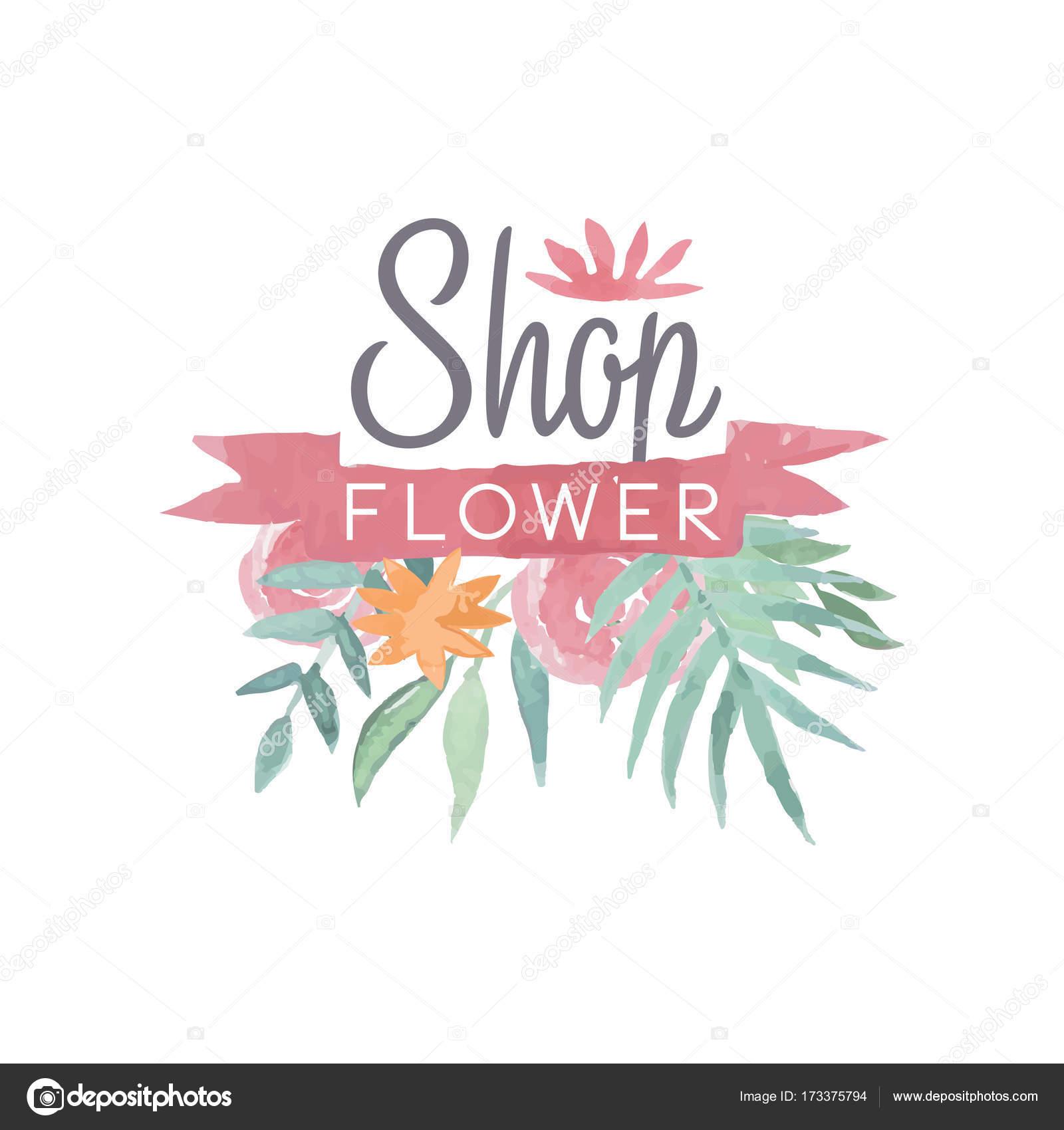 Logos Vintage Flores Plantilla De Insignia Colorida Tienda De