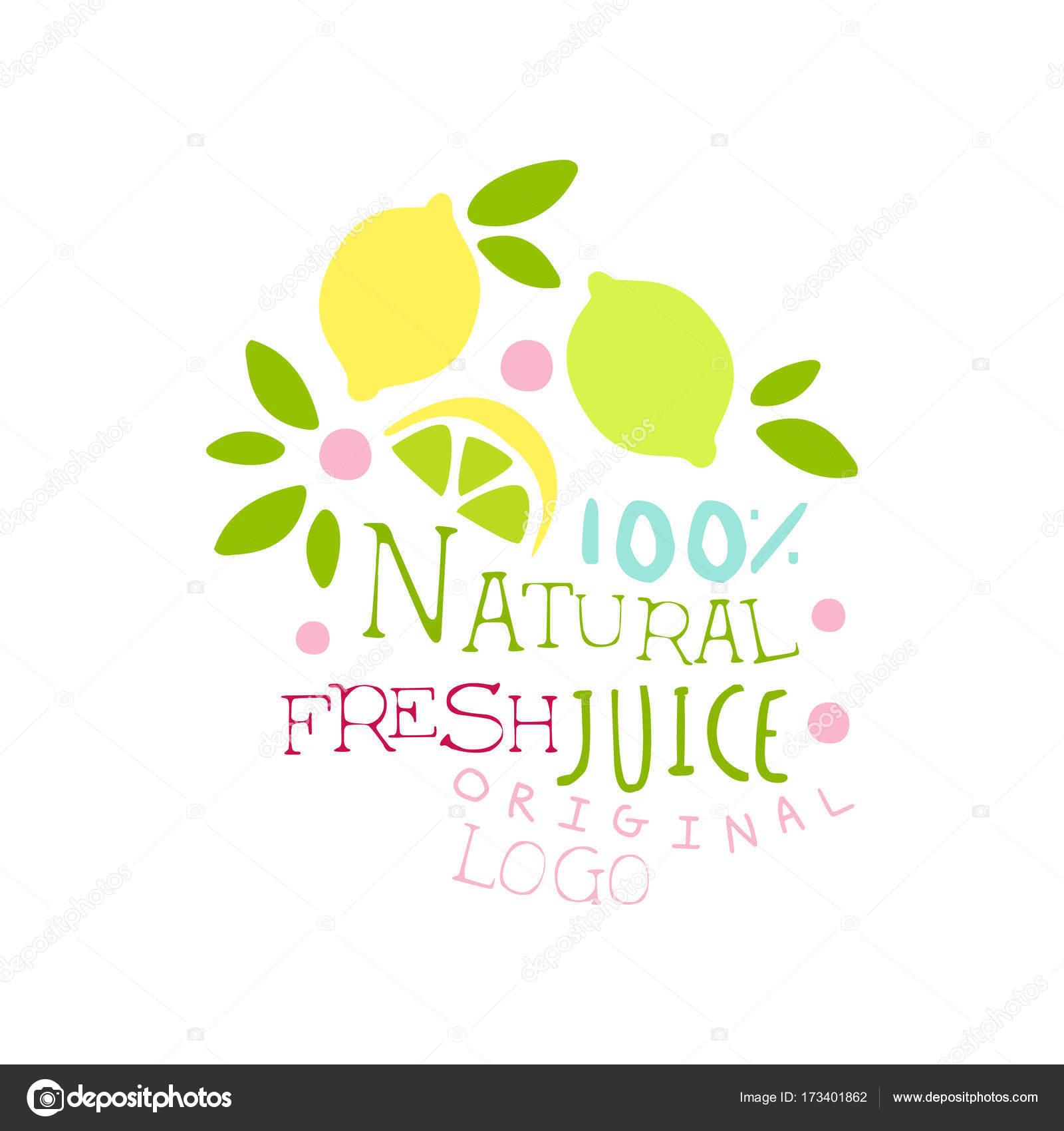Natürliche frische Saft 100 Prozent original-Logo, Getränke Zitrone ...