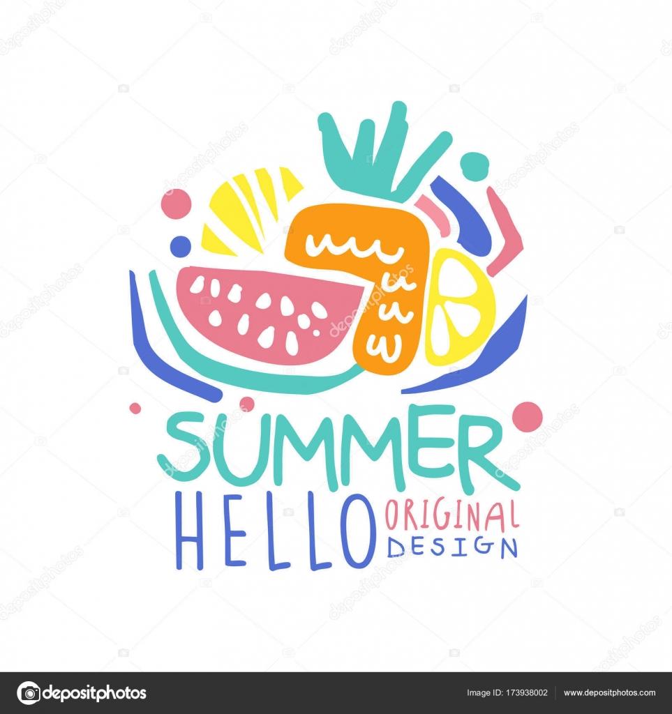 hello summer logo original design label with fruits for summer