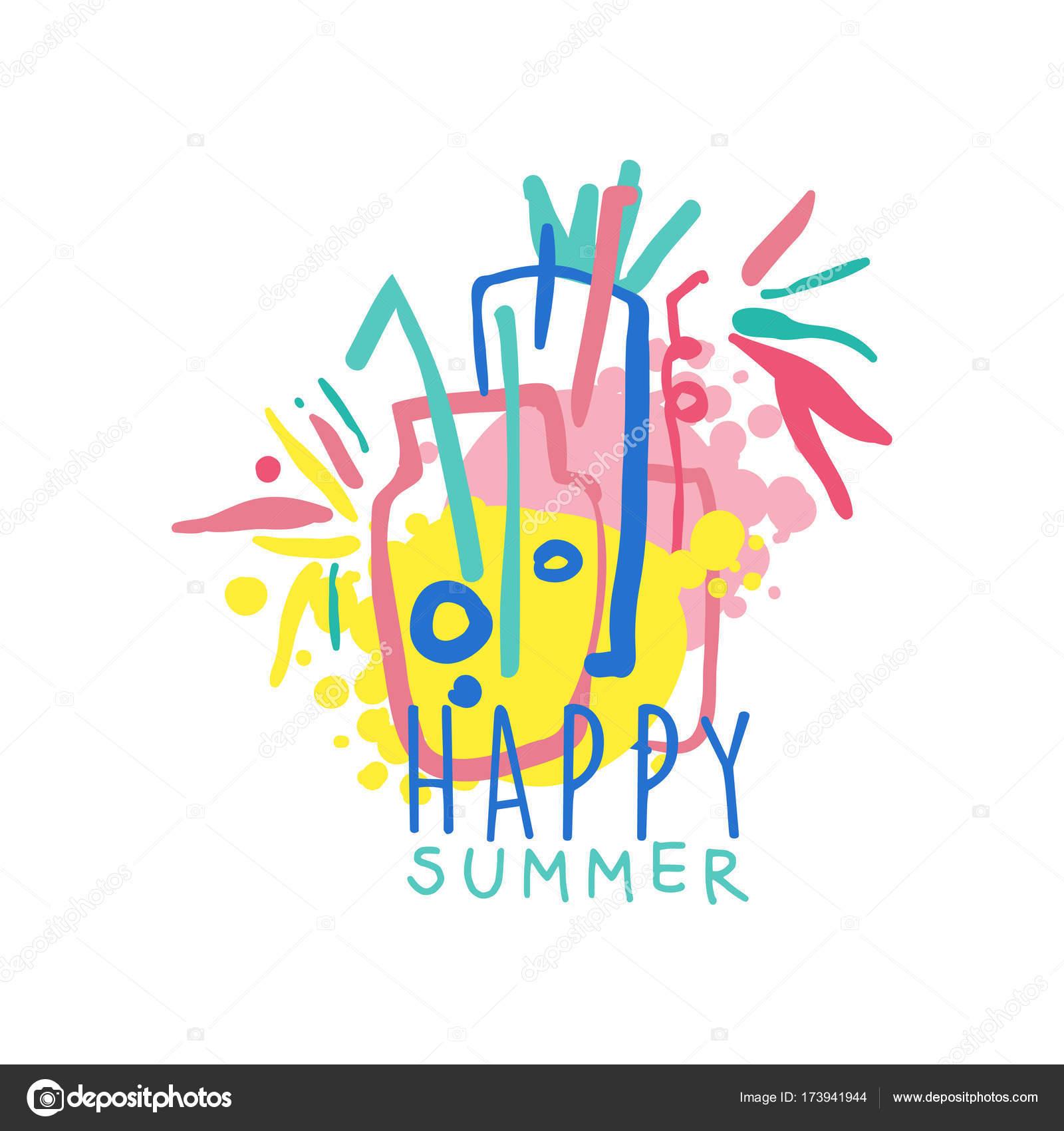 Glückliche Sommer Logo Vorlage, Label für Sommerurlaub, Restaurant ...