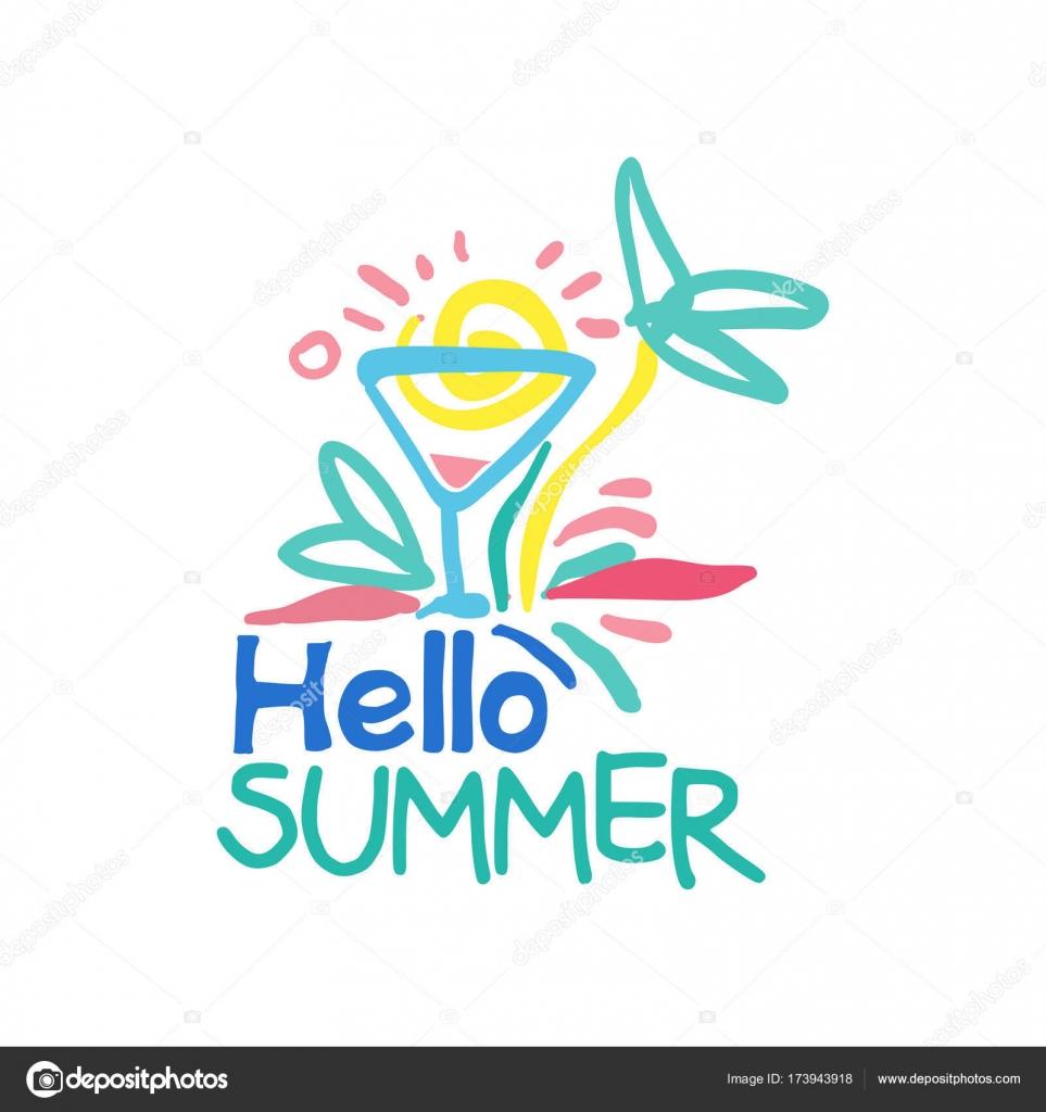 Hallo Sommer Logo Vorlage, Label für Sommerurlaub, Restaurant, Café ...