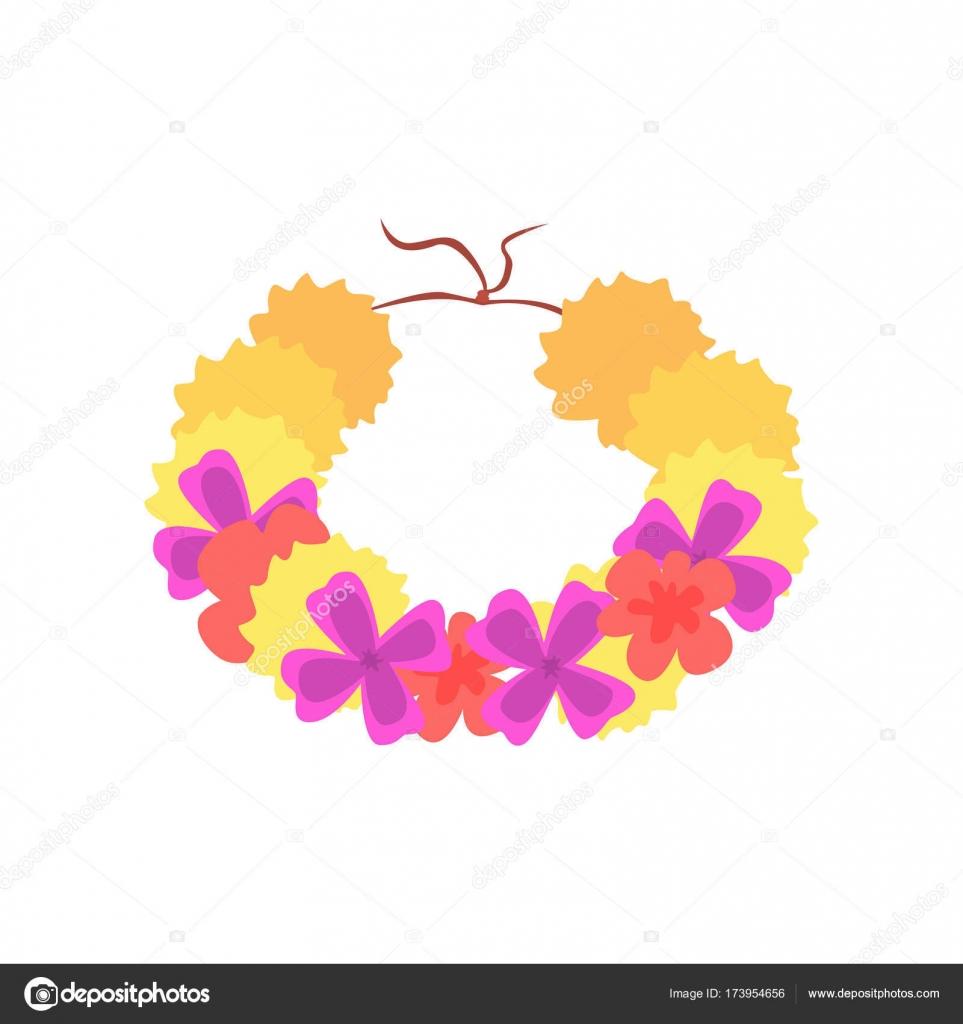 Hawaiian lei with bright colorful flowers traditional necklace hawaiian lei with bright colorful flowers traditional necklace cartoon vector illustration stock vector izmirmasajfo
