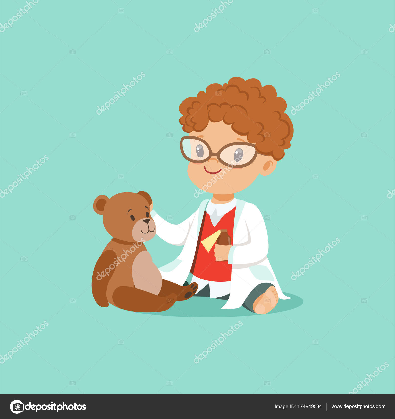 Jas Van Teddy.Curly Haired Peuter Jongen Behandeling Van Zijn Patienten Teddy Bear