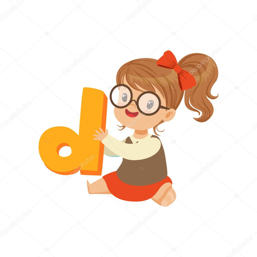 Cheerful baby girl character sitting on the floor with toy letter D for speech games. Cartoon kid character in flat style. Isolated vector illustration. Design for infographic poster, flyer, brochure. stock vector