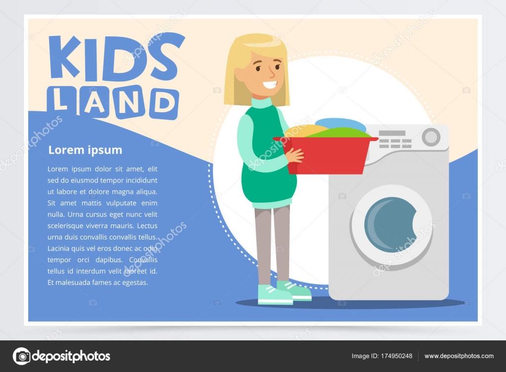 Carte Bleue Machine A Laver.Carte Bleue Ou Une Affiche Avec La Jeune Fille Debout Avec