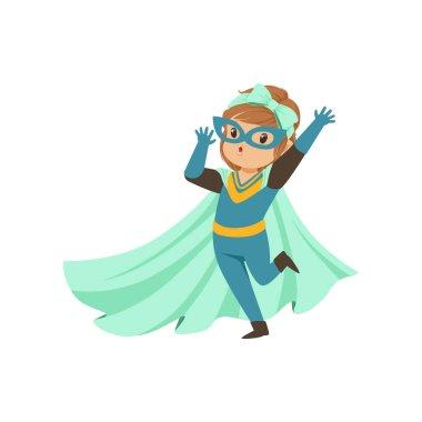 Comic brave kid standing on one leg and waving her hand. Dressed in superhero costume. Vector cartoon flat super girl character.