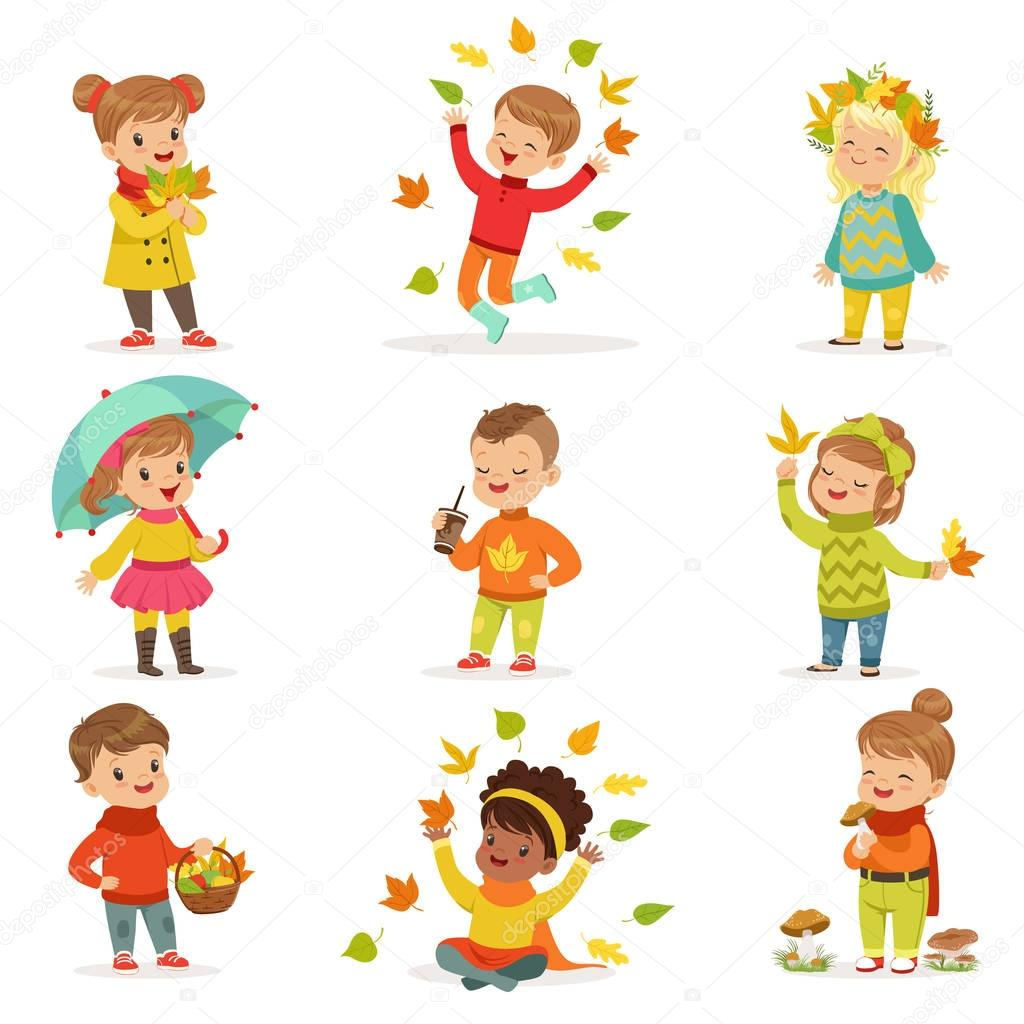 Autumn children s outdoor seasonal activities set. Kids having fun in fall. Collecting leaves, playing and throwing leaves, picking mushrooms, walking. Boys and girls in warm clothes. Happy childhood stock vector