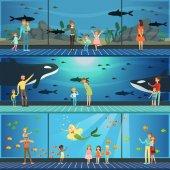 Fotografie People visiting an oceanarium set of vector Illustrations, parents with children watching underwater scenery with sea animals