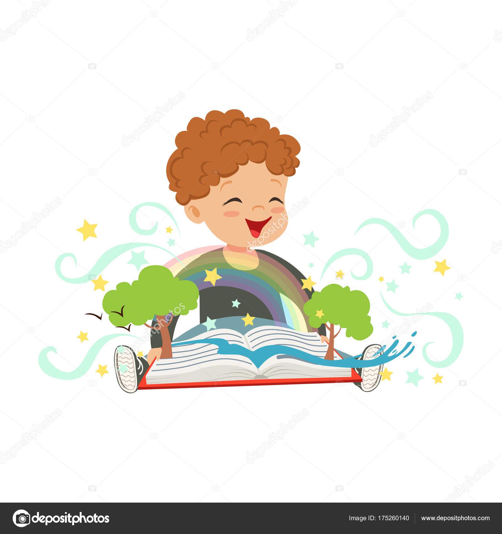 1a8fca336d Imádnivaló baba fiú birtoklás móka-val pukkanás-megjelöl varázskönyv. Vidám  gyerek karakter színes fantázia. Fantasy koncepció.