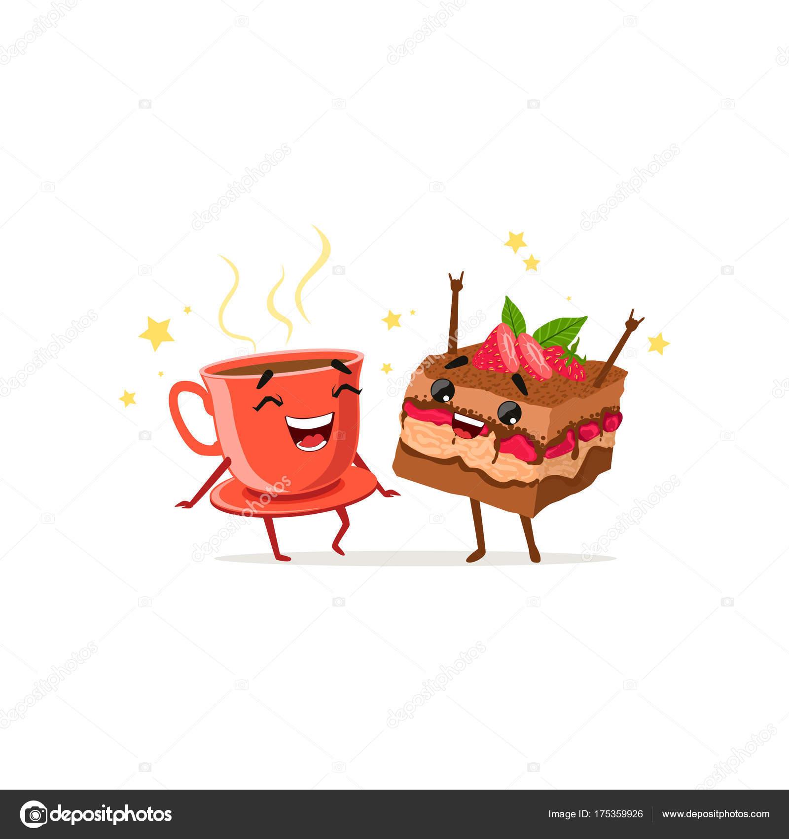 Tanzen Kaffee Und Kuchen Mit Erdbeeren Essen Und Trinken Zeichen