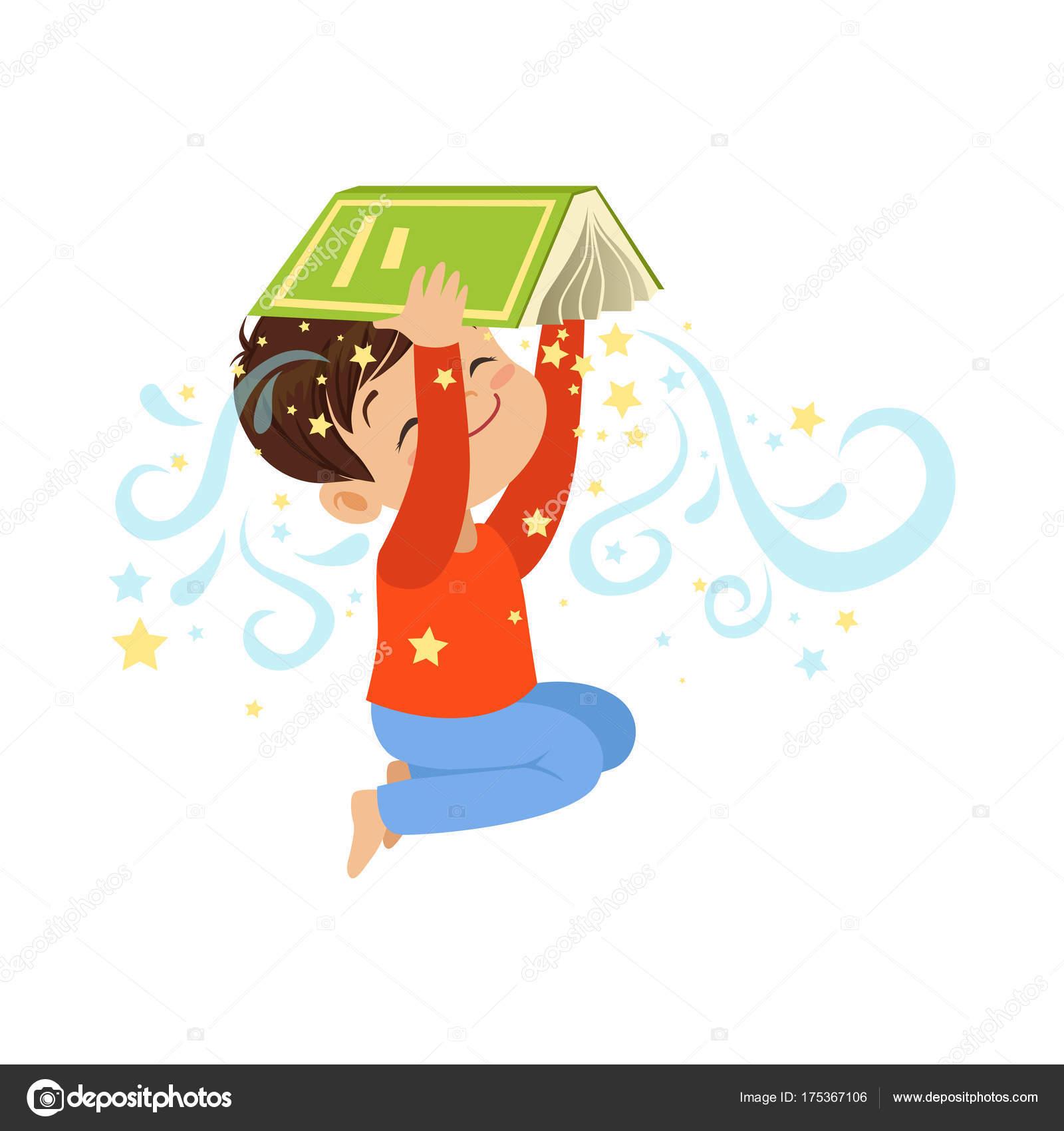 Cartone animato piccolo libro magico aperto della holding