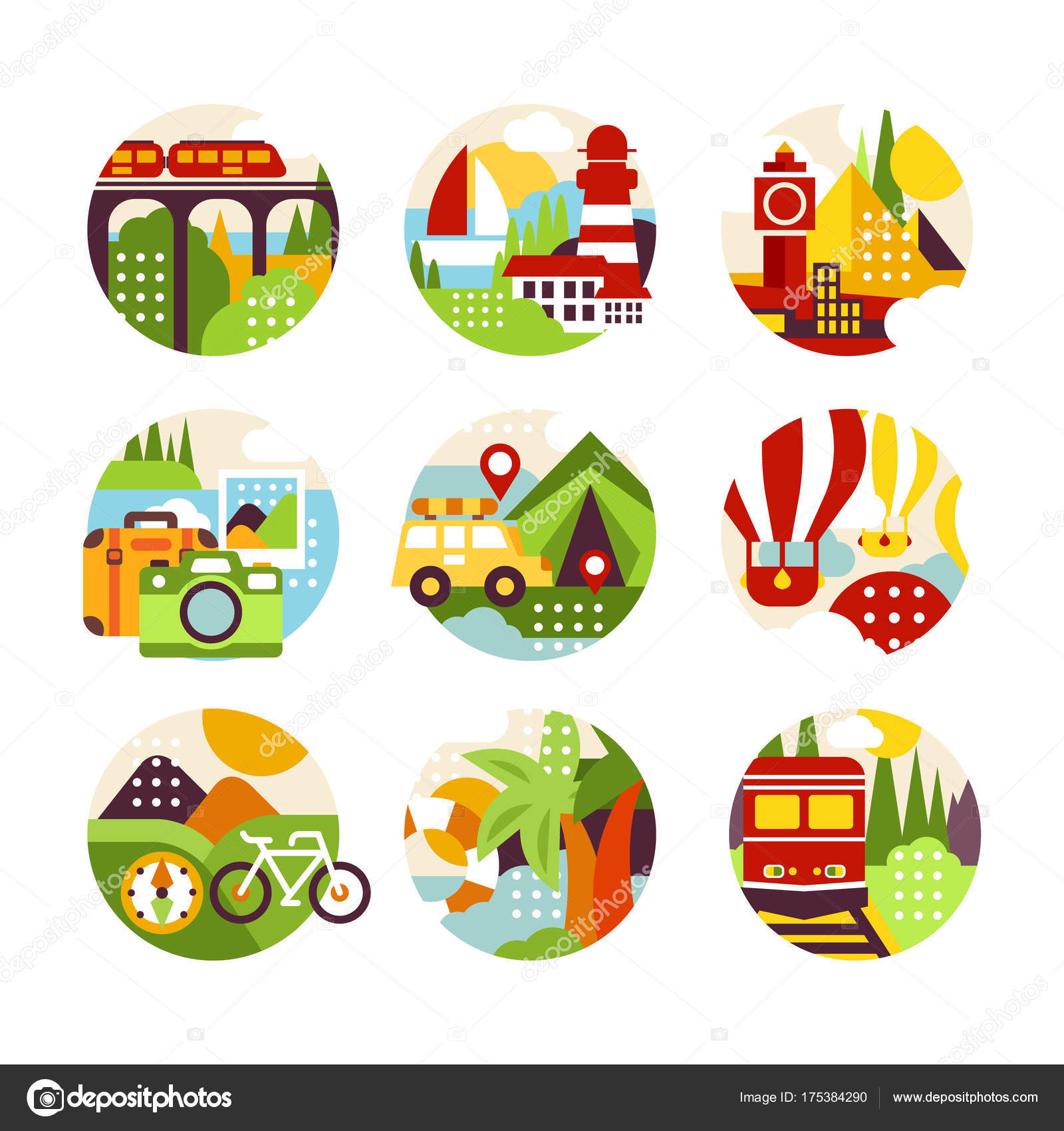 Collection of flat natural circle logo with landscape, city