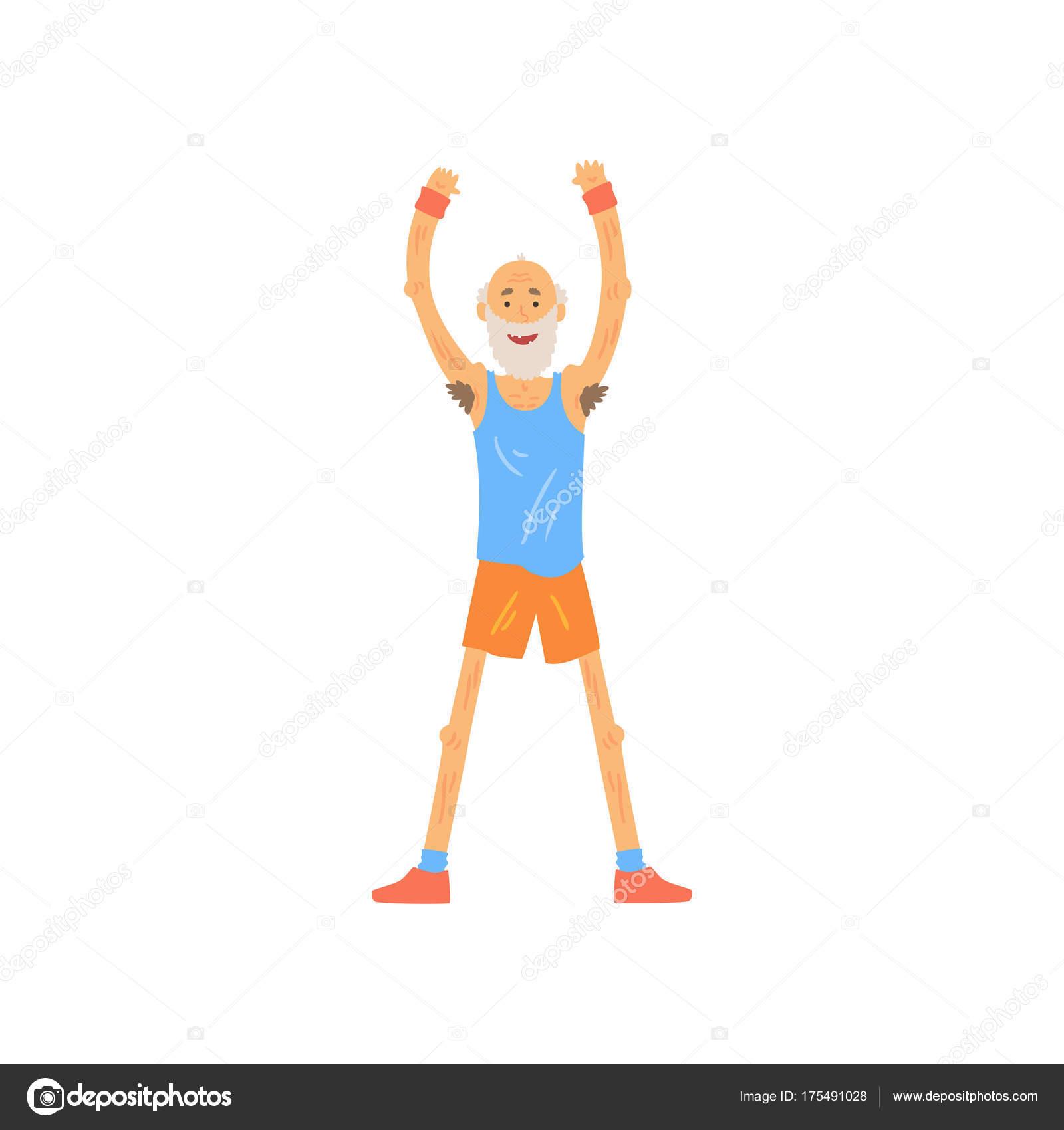 Top Oude man verhogen zijn handen omhoog. Bebaarde ouderen karakter &GF18