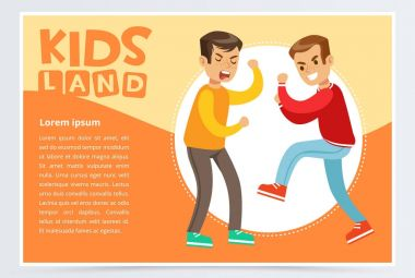 Two teen boys fighting each other, boy bullying classmate, aggressive behavior, kids land banner flat vector element for website or mobile app