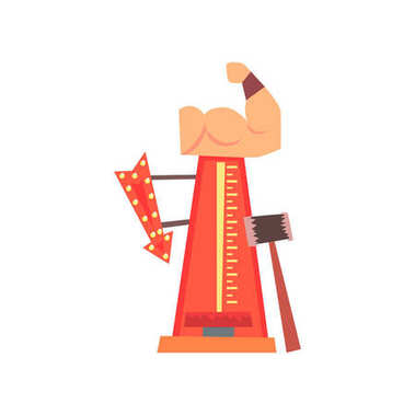 High striker attraction with big hammer, arrow with lights and muscular arm. Strength tester or strongman game. Amusement park. Flat vector for flyer or banner
