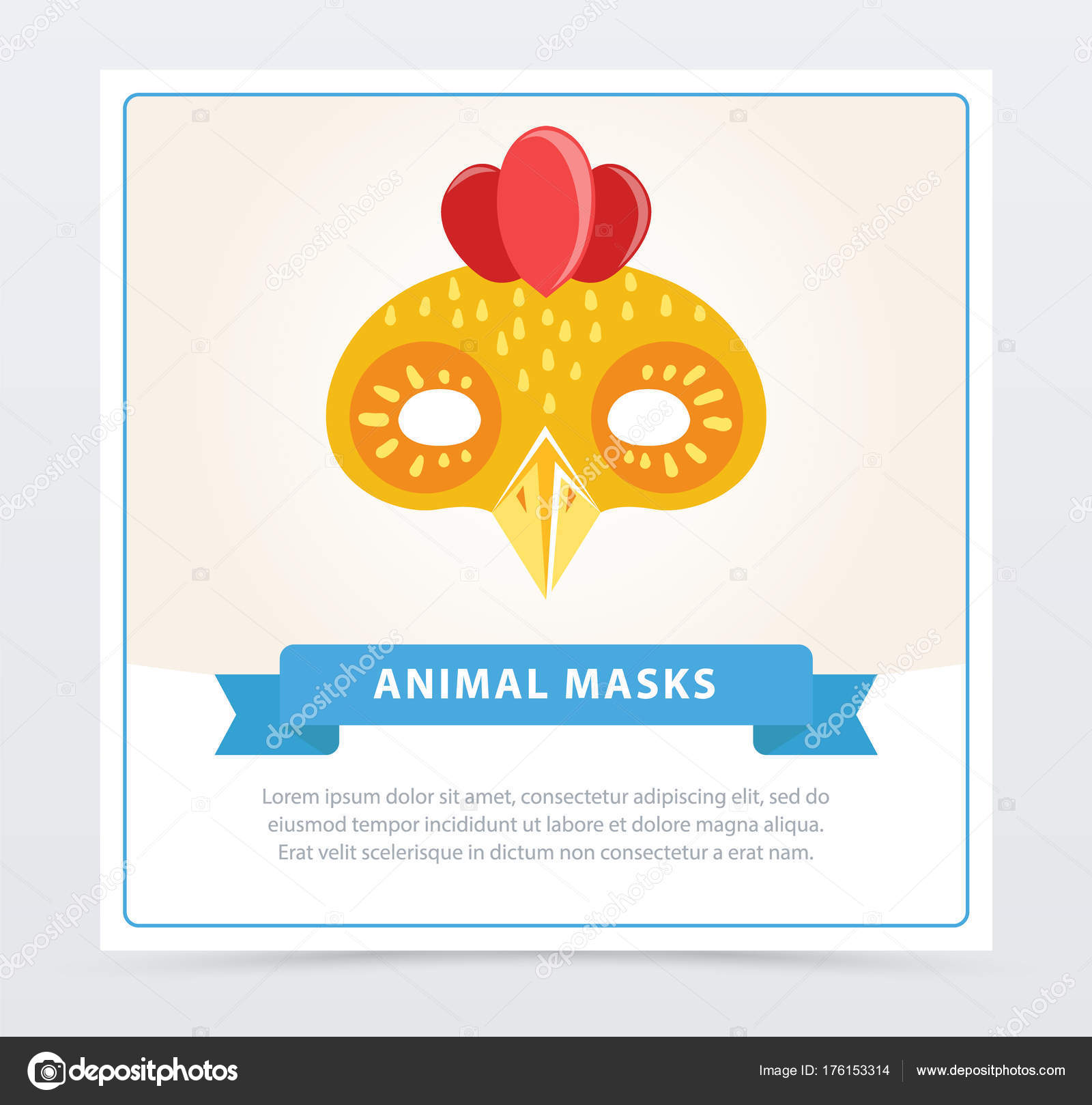 Cute Cartoon Chicken Mask Colorful Element For Children S Masquerade Or Kindergarten Party Flat