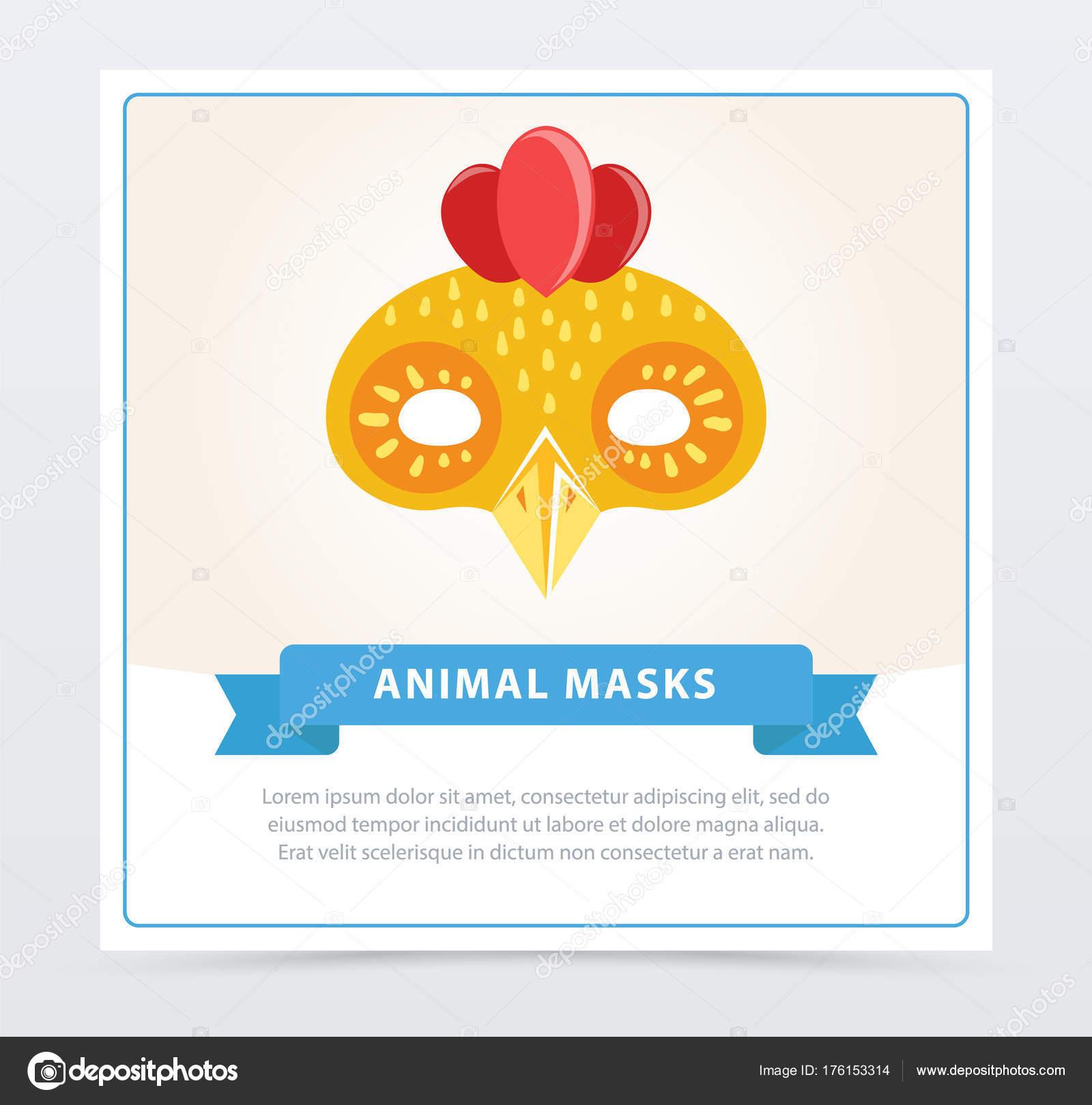 Máscara de pollo de dibujos animados lindo. Elemento de colorido ...