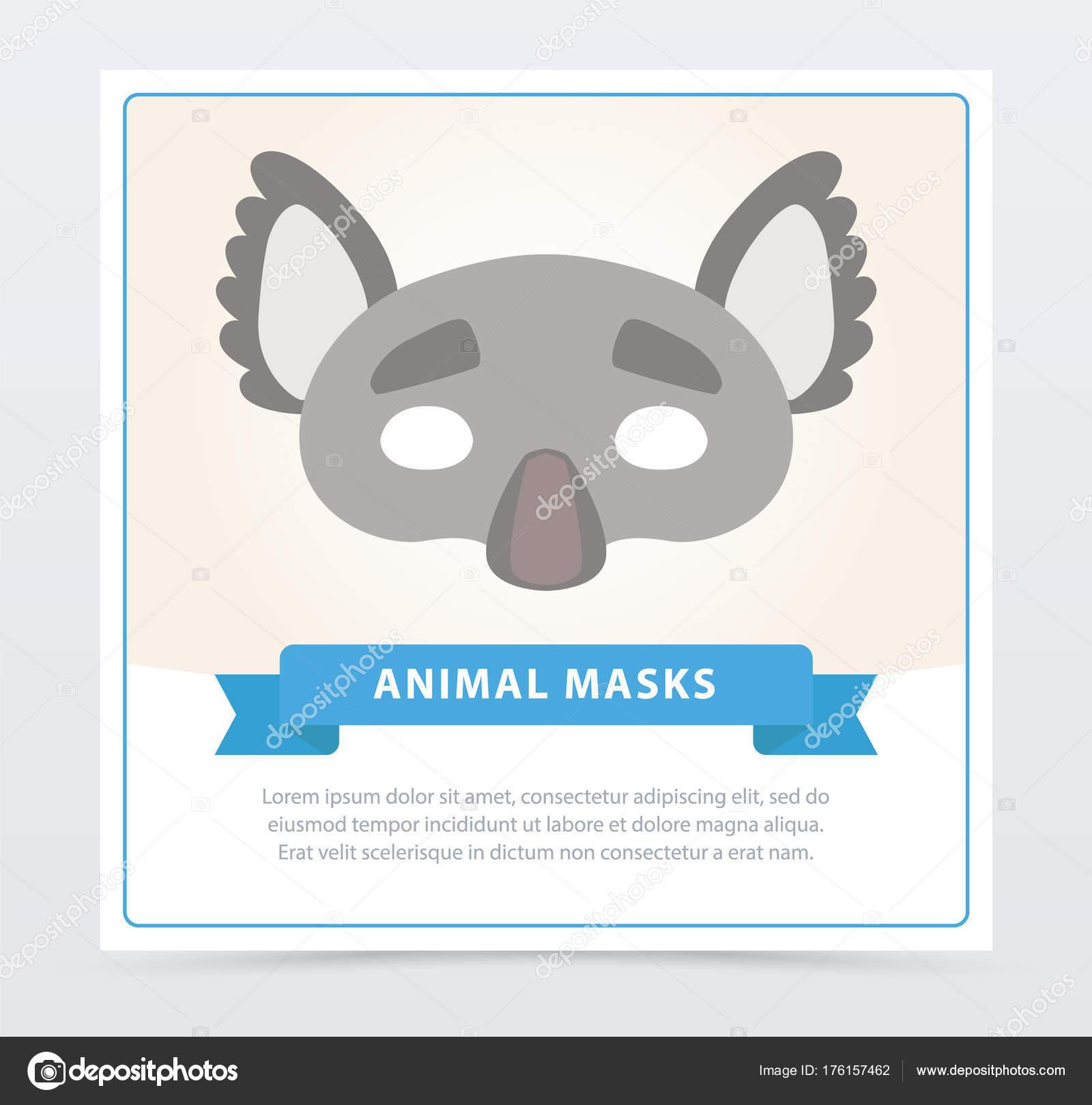 Colorida máscara de la mascarada de koala gris con orejas lindos ...