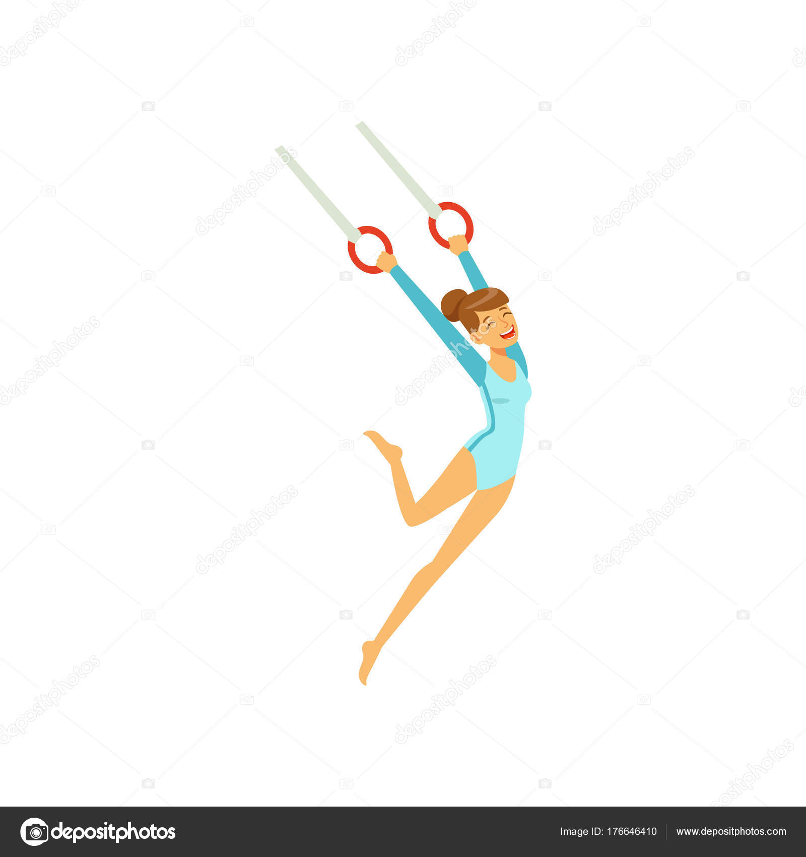 Mlada Divka Dela Cviceni Letajici Krouzky Sportovni Gymnastika