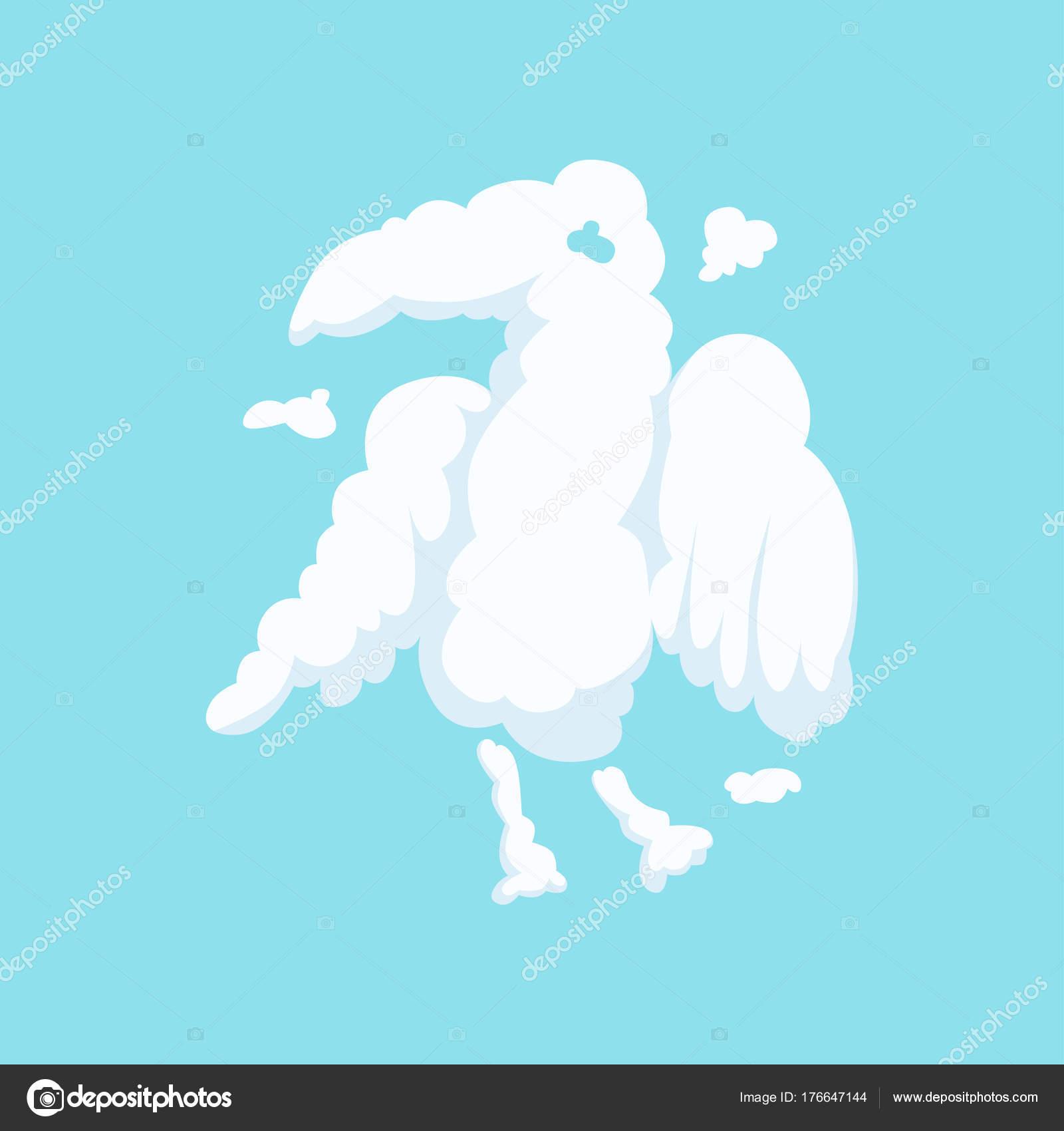 Nuage En Forme Bizarre D Aigle Isolé Sur Bleu Silhouette D Oiseau