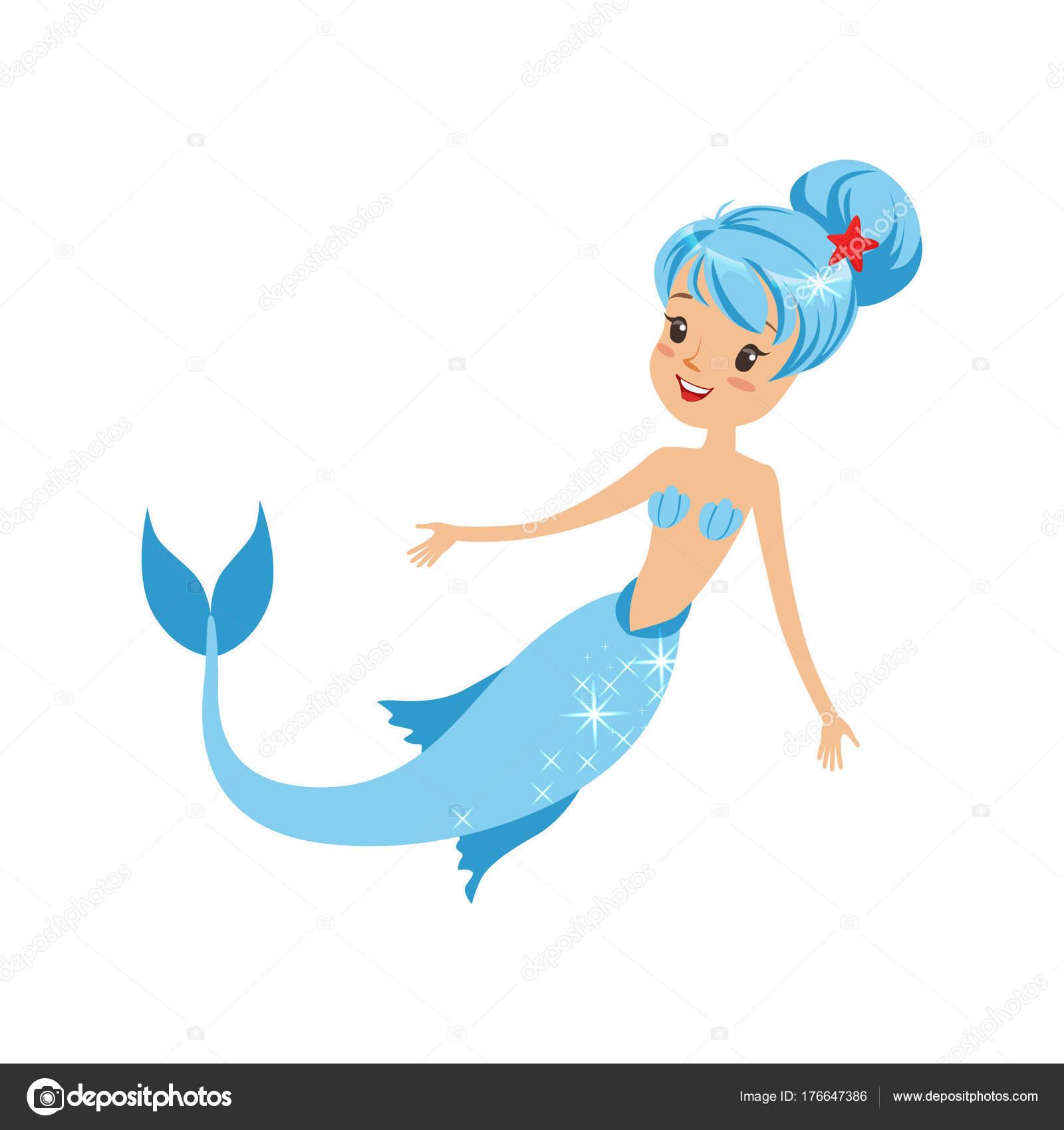 Meerjungfrau Mädchen Mit Glücklichen Gesichtsausdruck Blaue Haare