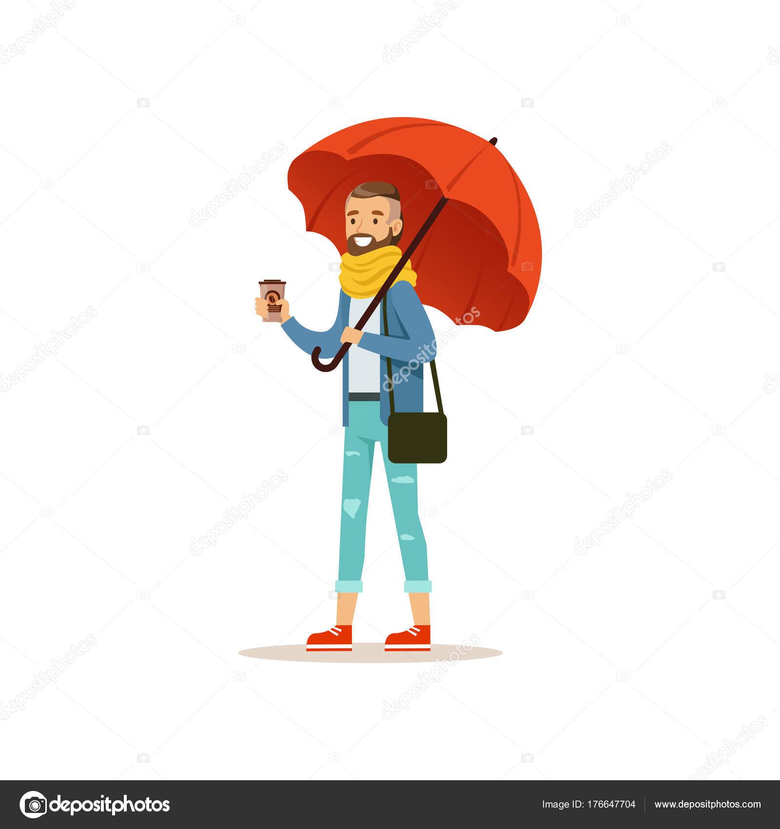 Uomo che indossa vestiti caldi con caffè tazza levarsi in piedi sotto  l ombrello rosso piatto di vettore isolato su sfondo bianco — Vettoriali di  TopVectors 37054074a9e