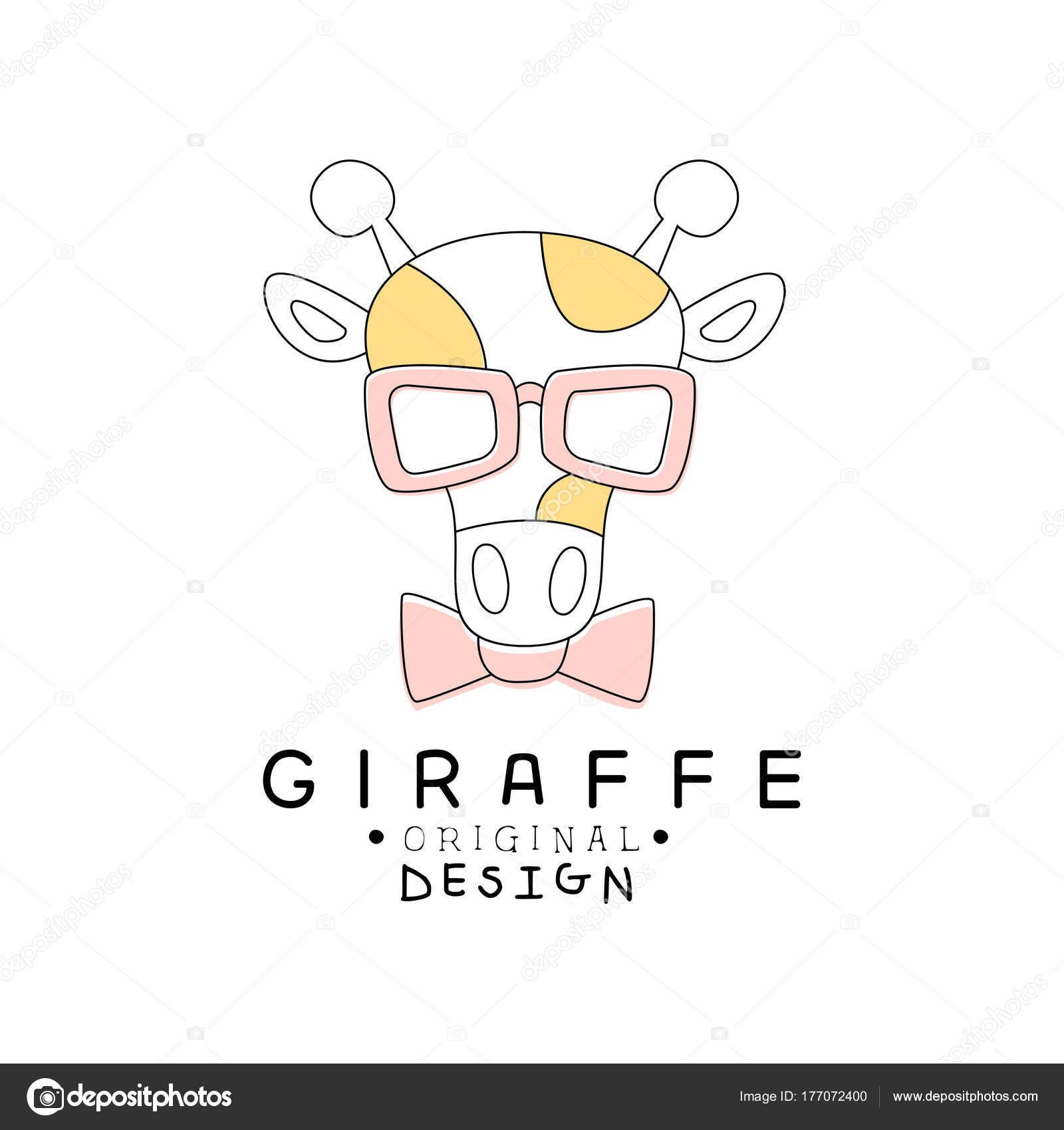 キリンのロゴのテンプレートの元のデザイン、かわいい面白い動物ラベルの