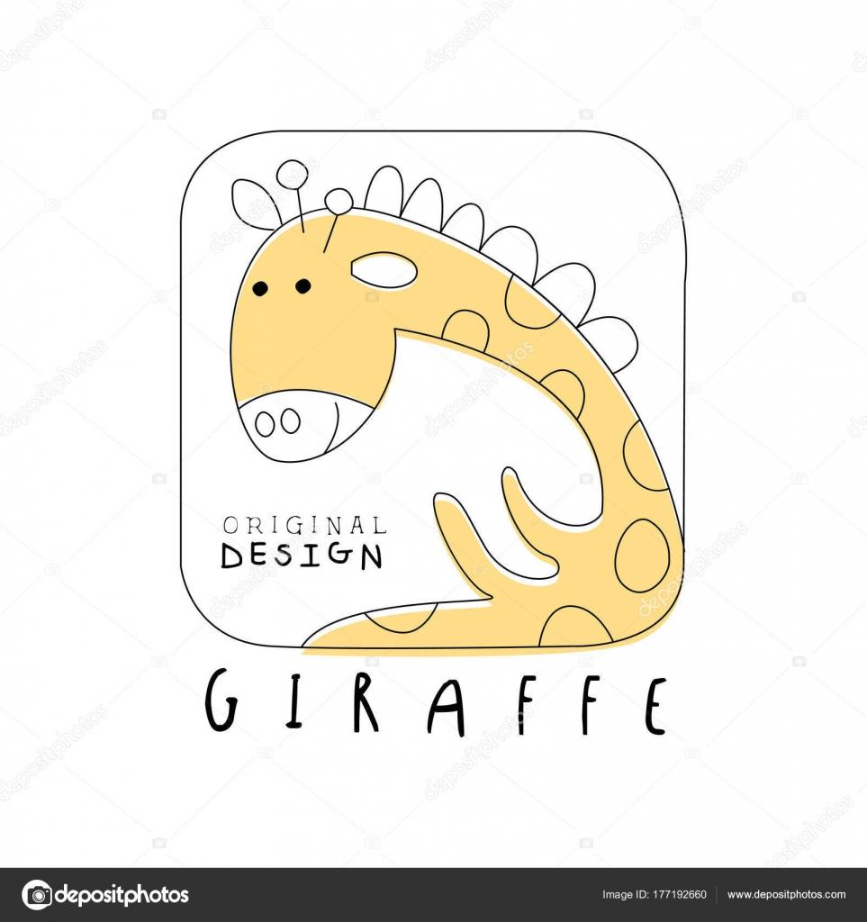 キリンのロゴのオリジナル デザイン、かわいい面白い動物バッジの簡単