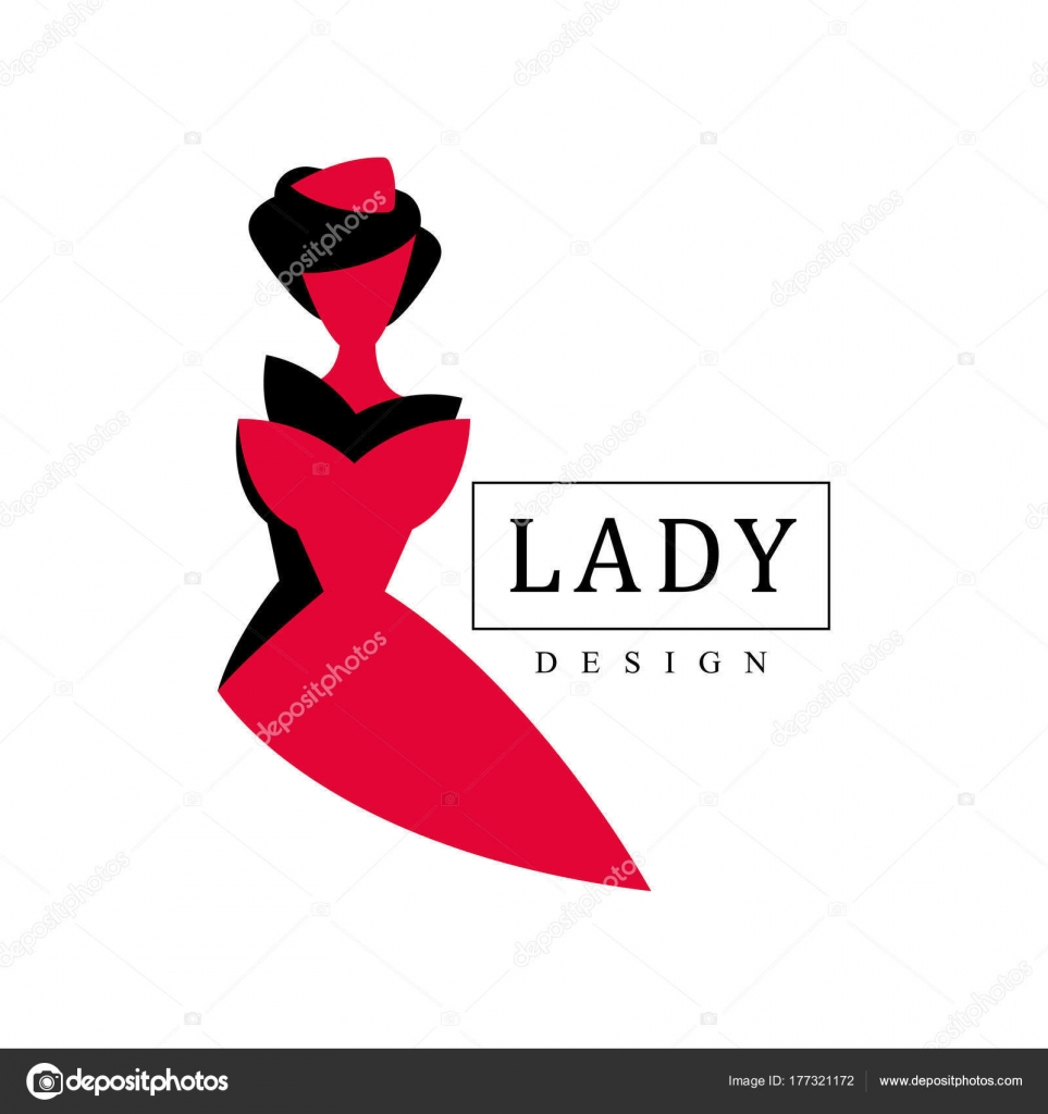 lady design logo red and black fashion and beauty emblem