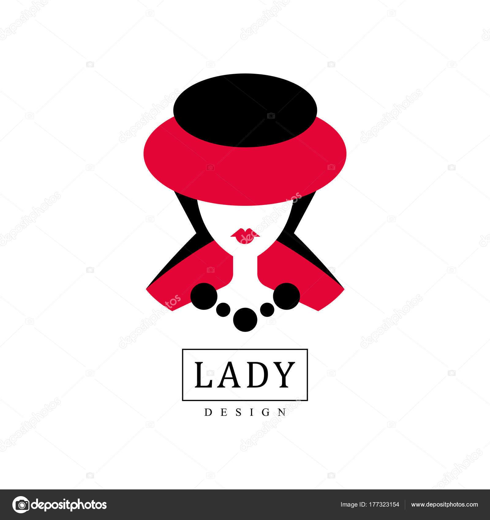 f560e9fd3afab Design de senhora, moda, salão de beleza, studio ou boutique logotipo  modelo de design, vermelho e preto moda cartaz, cartaz, banner, retrato de uma  jovem ...