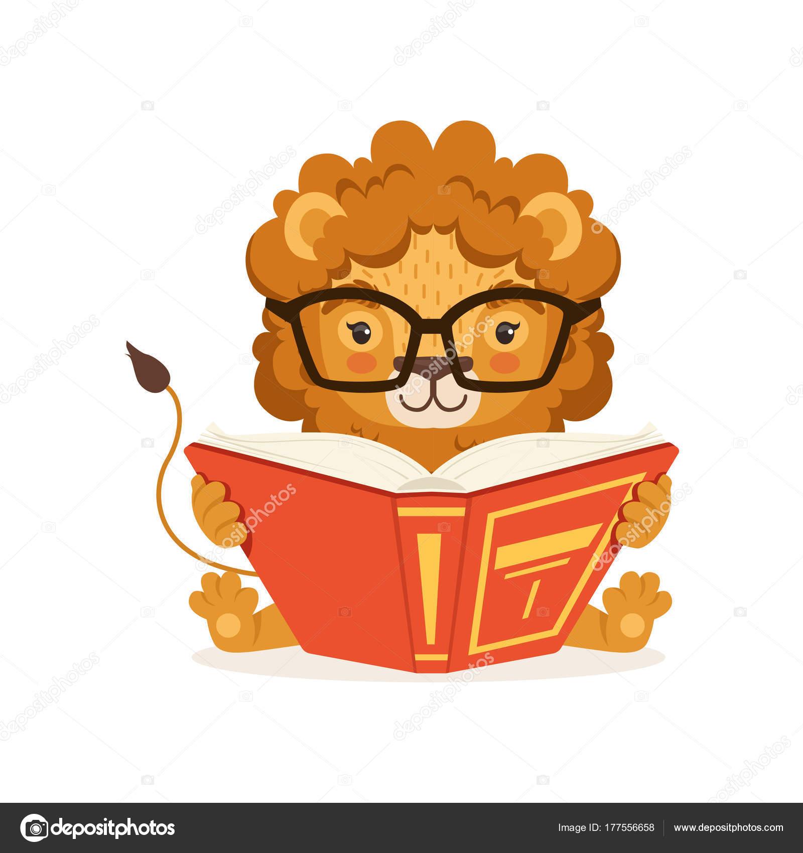 Adorable Petit Lion Dessin Anime Livre Lunettes Et Lecture