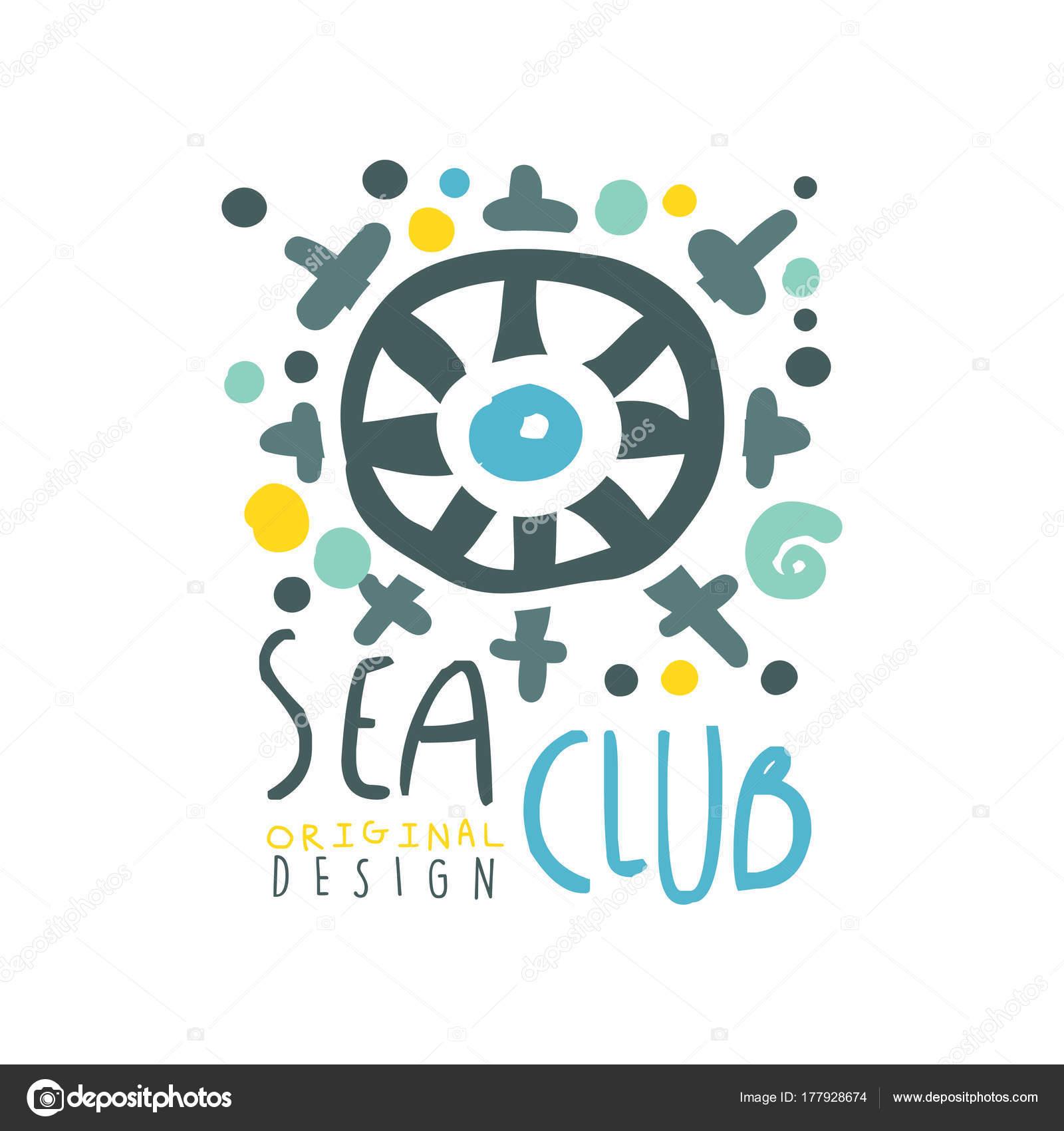 オリジナル カラフルな海やヨット クラブのロゴ デザイン抽象船