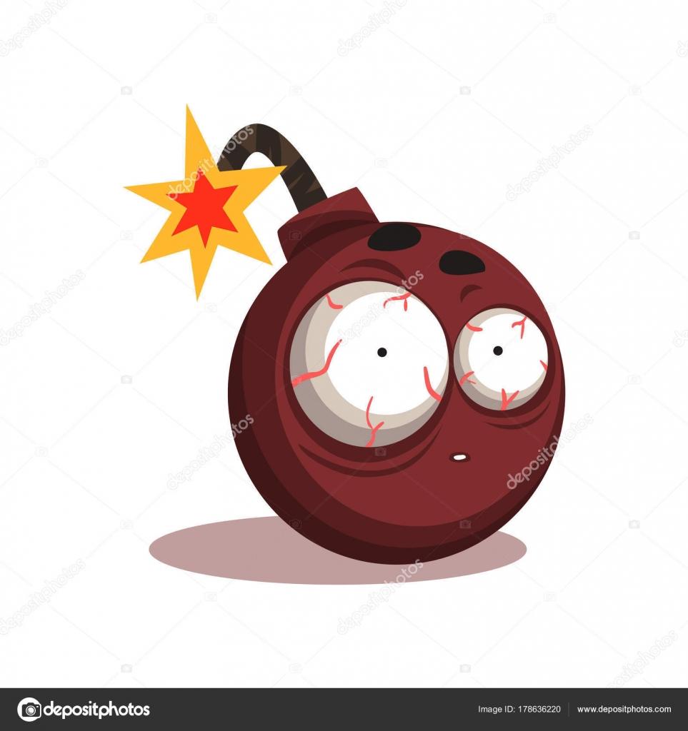 Illustrazione della bomba rotonda con il fusibile brucia illuminato