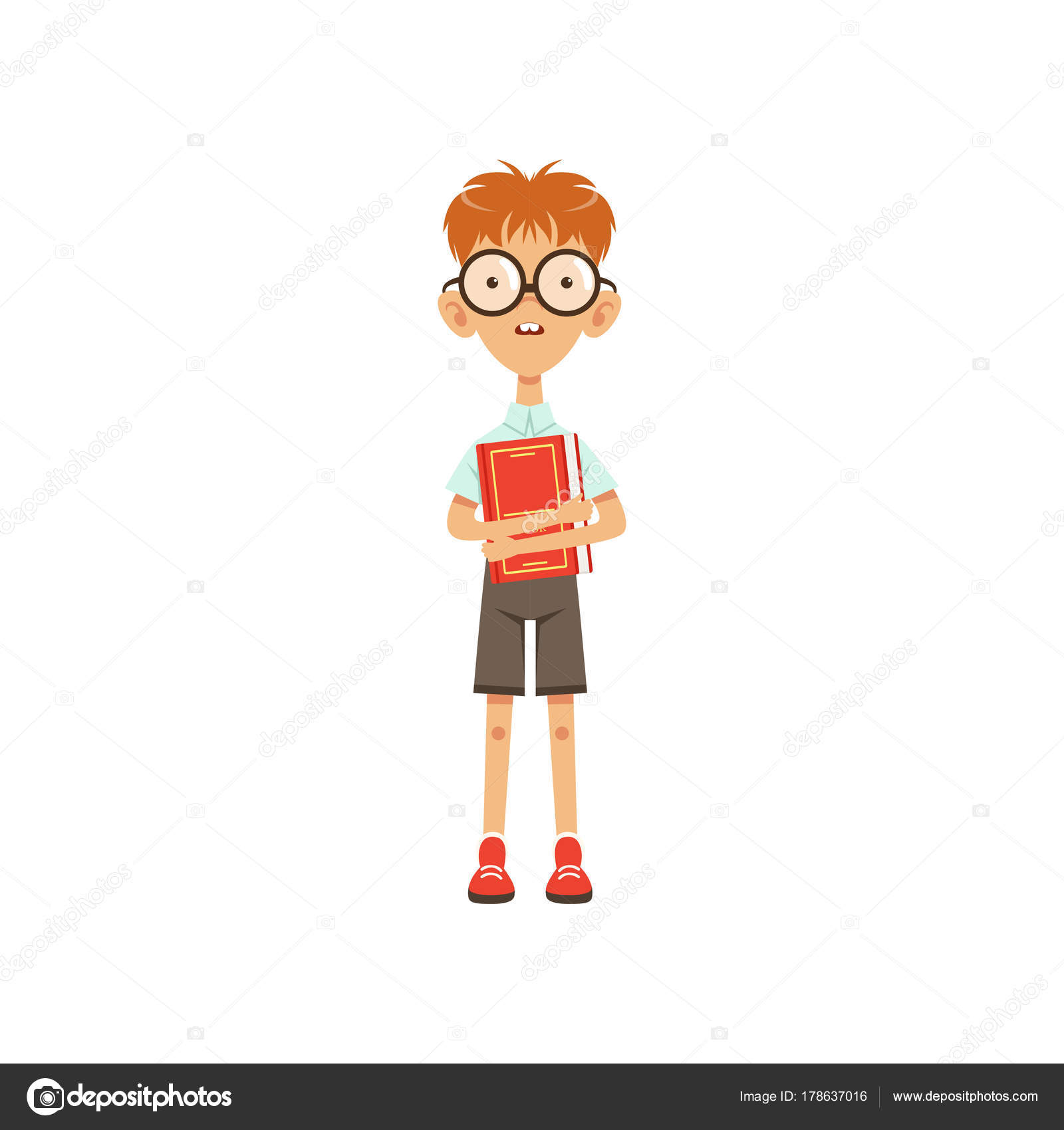 Scolaro di nerd fumetto in piedi con il libro in mano. concetto di