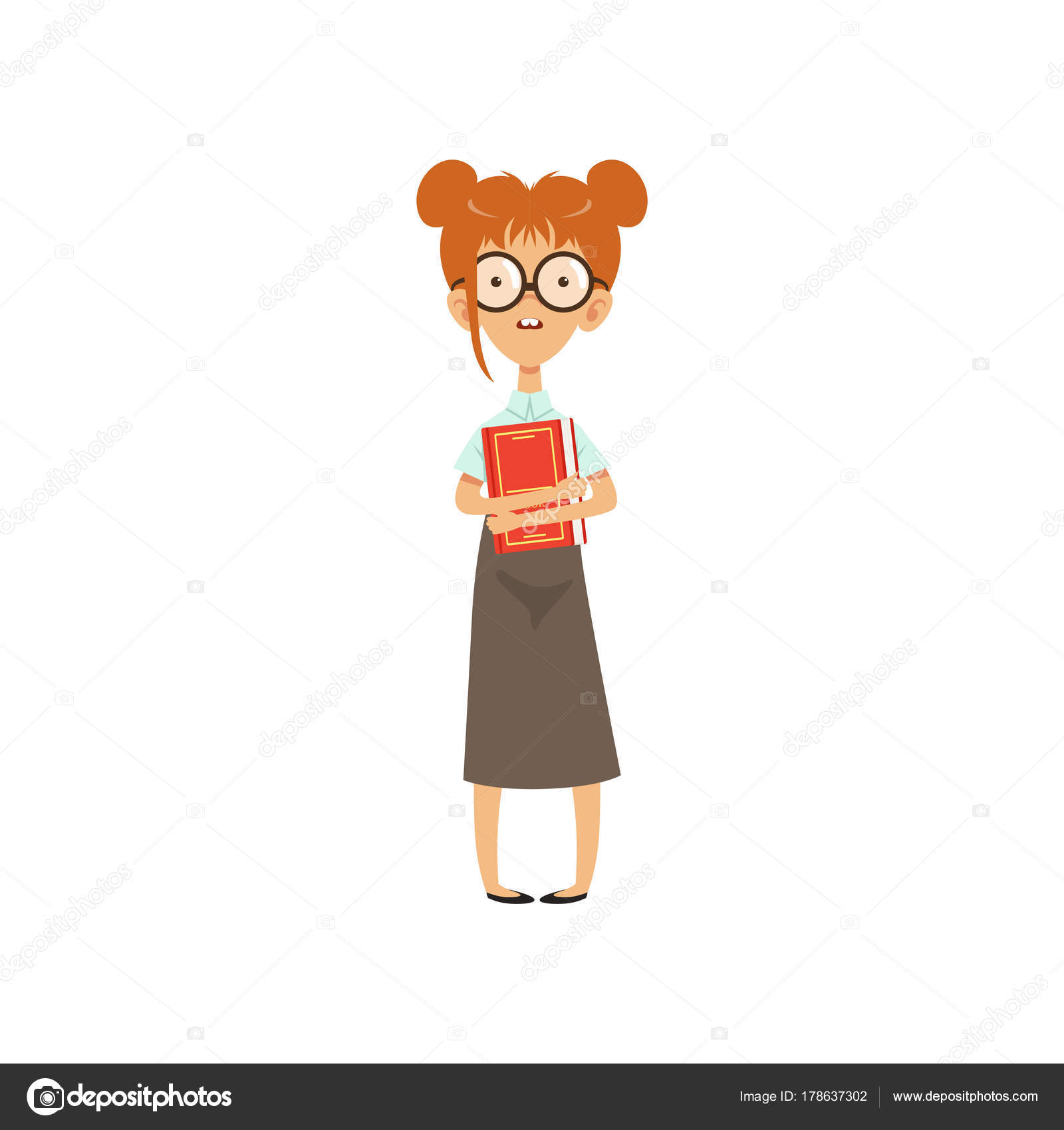 Confused Nerd Girl Standing With Book In Hands Cartoon Female