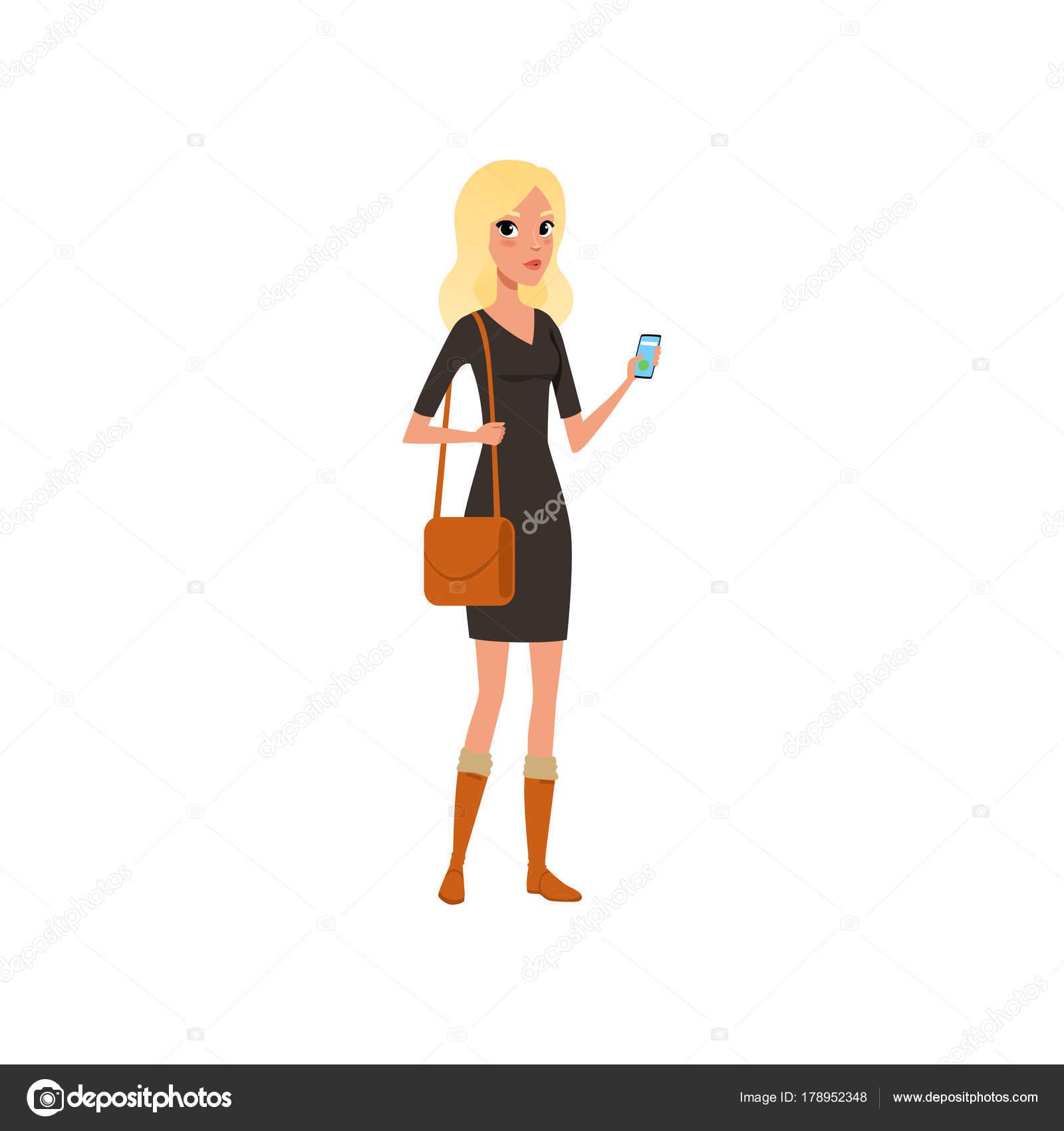 In De Smartphone Kaukasische Mooie Blond Vrouw HandCartoon Met cFTKJl1