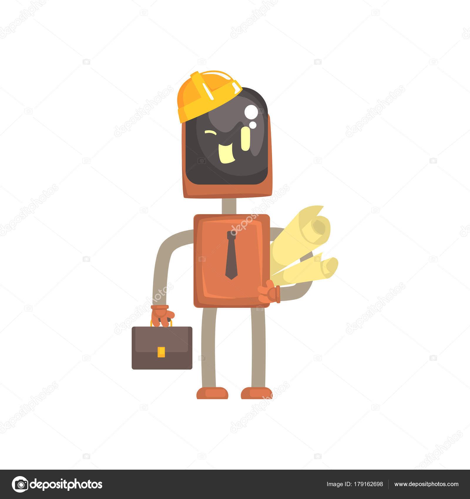 reloj color atractivo brillo encantador Robot androide dibujo | Personaje de arquitecto robot ...