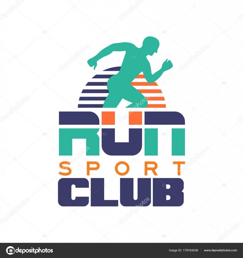 Sport Club Logo Vorlage, Emblem mit abstrakten laufenden Mann ...