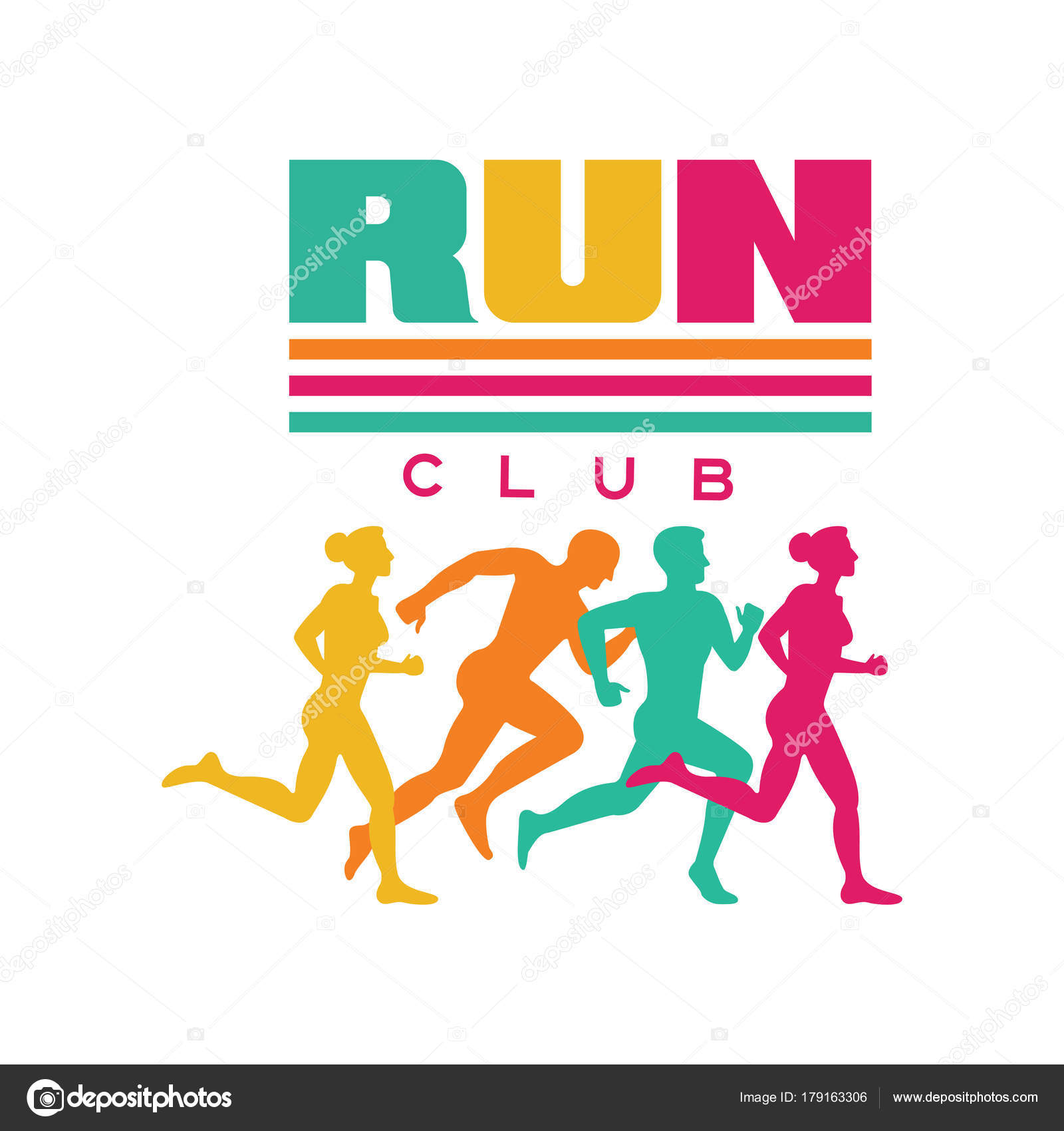 Run Sport Club Logo Template Emblem With Abstract Running People