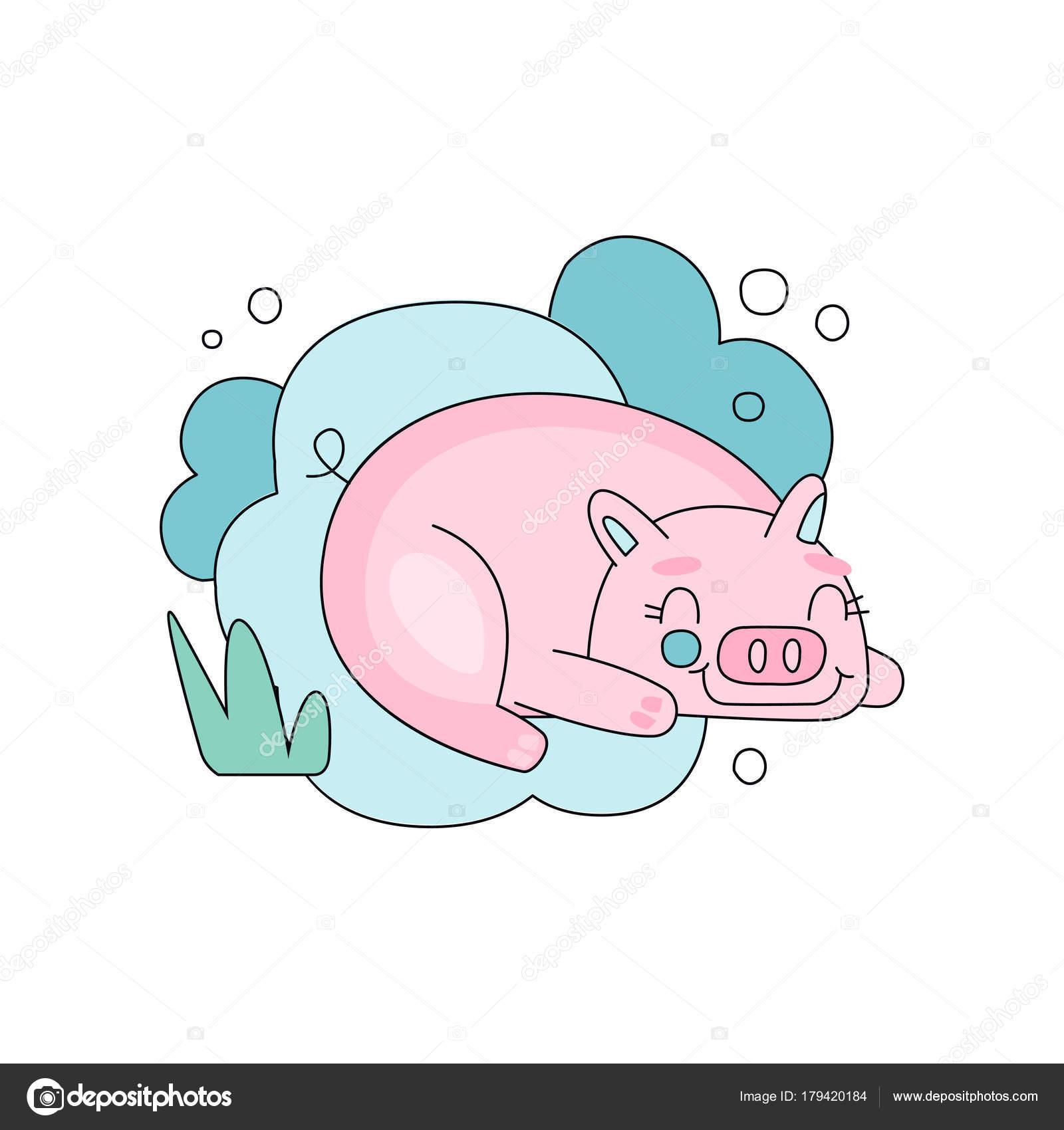 青いふわふわ雲の背景に眠そうなピンクの豚との素敵なイラスト子供の本