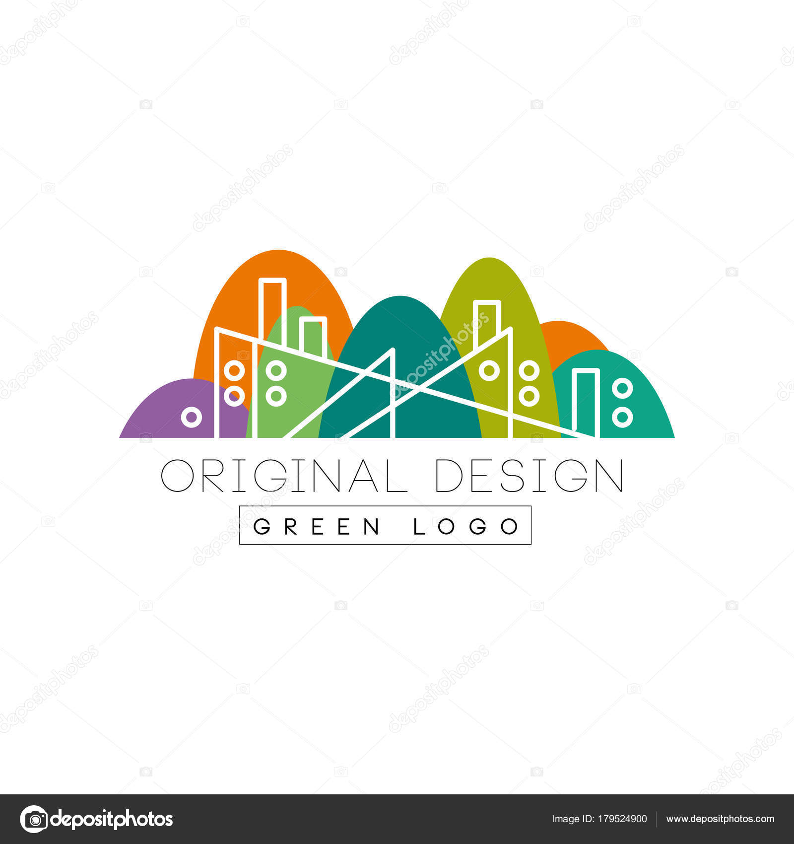 Abstract factory building with chimney in linear style colorful colorful park on background flat vector illustration isolated on white background creative graphic design for business card flyer or label reheart Images