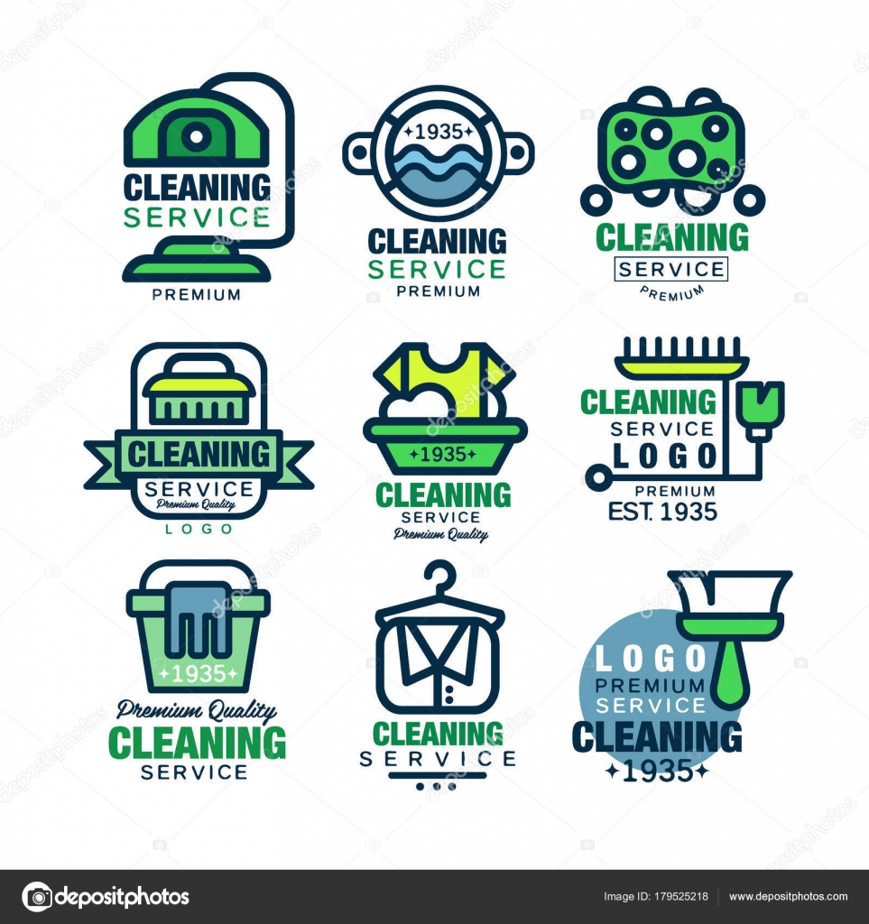 Cleaning service premium quality logo design set, home and office ...