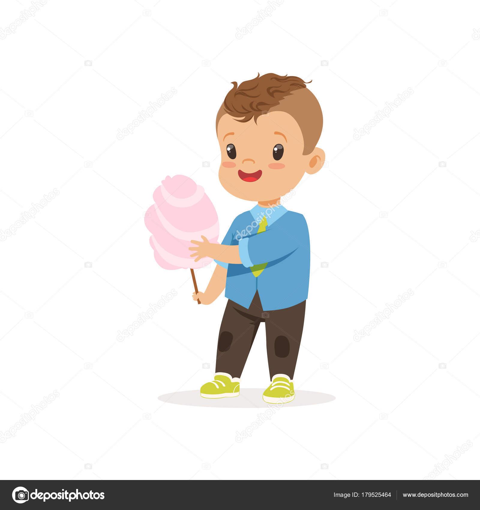 L gant enfant d ge pr scolaire debout avec douce barbe papa dessin anim petit personnage - Barbe a papa dessin anime ...